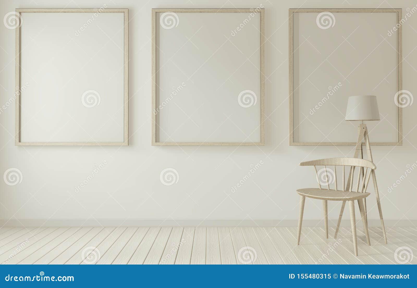 Opmaak van posterframe en witte stoel op witte woonkamer 3D-rendering