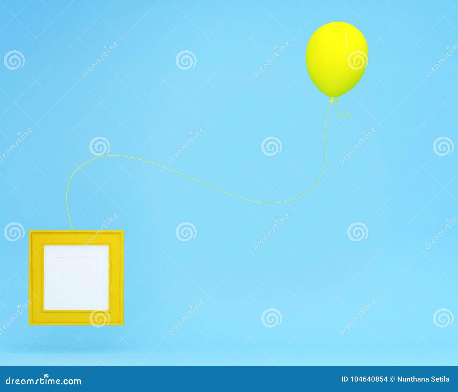 Download Opmerkelijke Gele Ballon Die Met Omlijsting Op Blauwe Achtergrond Drijven Minimaal Conceptenidee Omlijsting Wordt Gebruikt Om Pic Stock Illustratie - Illustratie bestaande uit ballon, mooi: 104640854