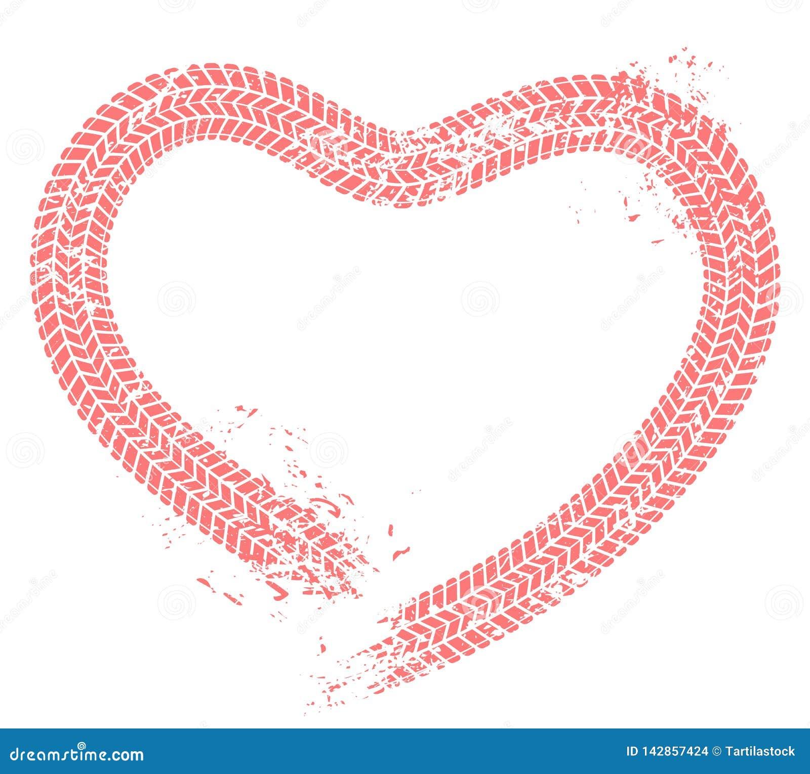 Opona tropi serce Kierowca miłość, serca męczy szlakowego i motorowego samochodu entuzjasty valentines grunge wektoru karcianą il