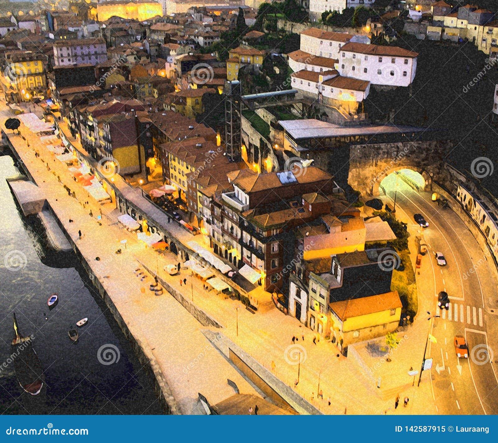 Город Oporto Река Дуэро Ribeira