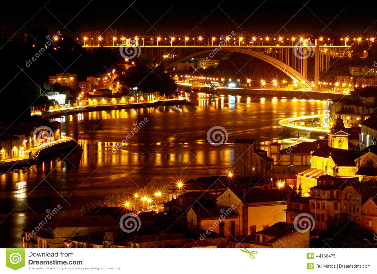 Download Oporto by night - Portugal stock image. Image of assignment - 44168475