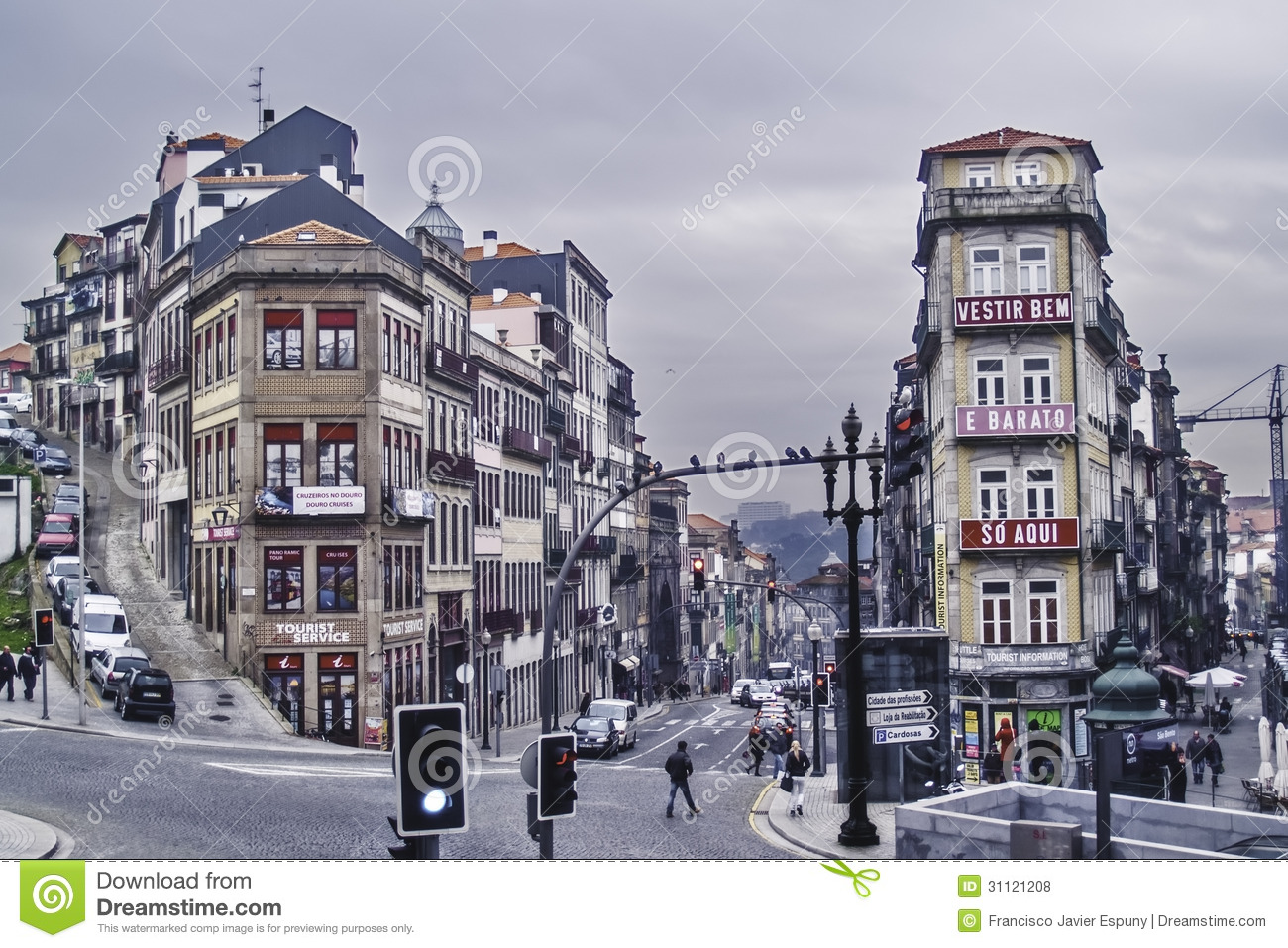 Oporto, December 2012. View of buildings and streets on downtown ...