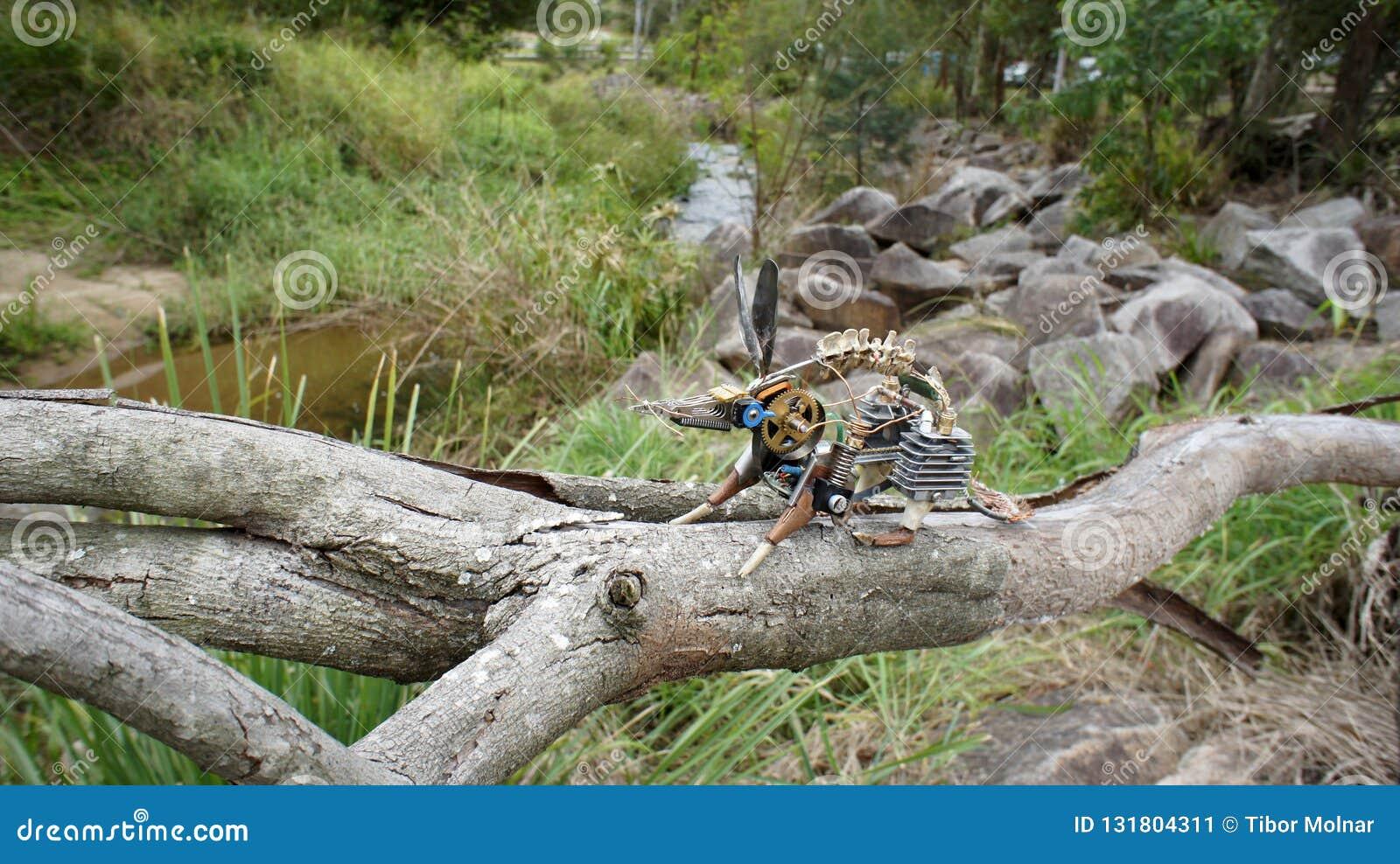 Opossum van de stoom het punkkunst op boomtak