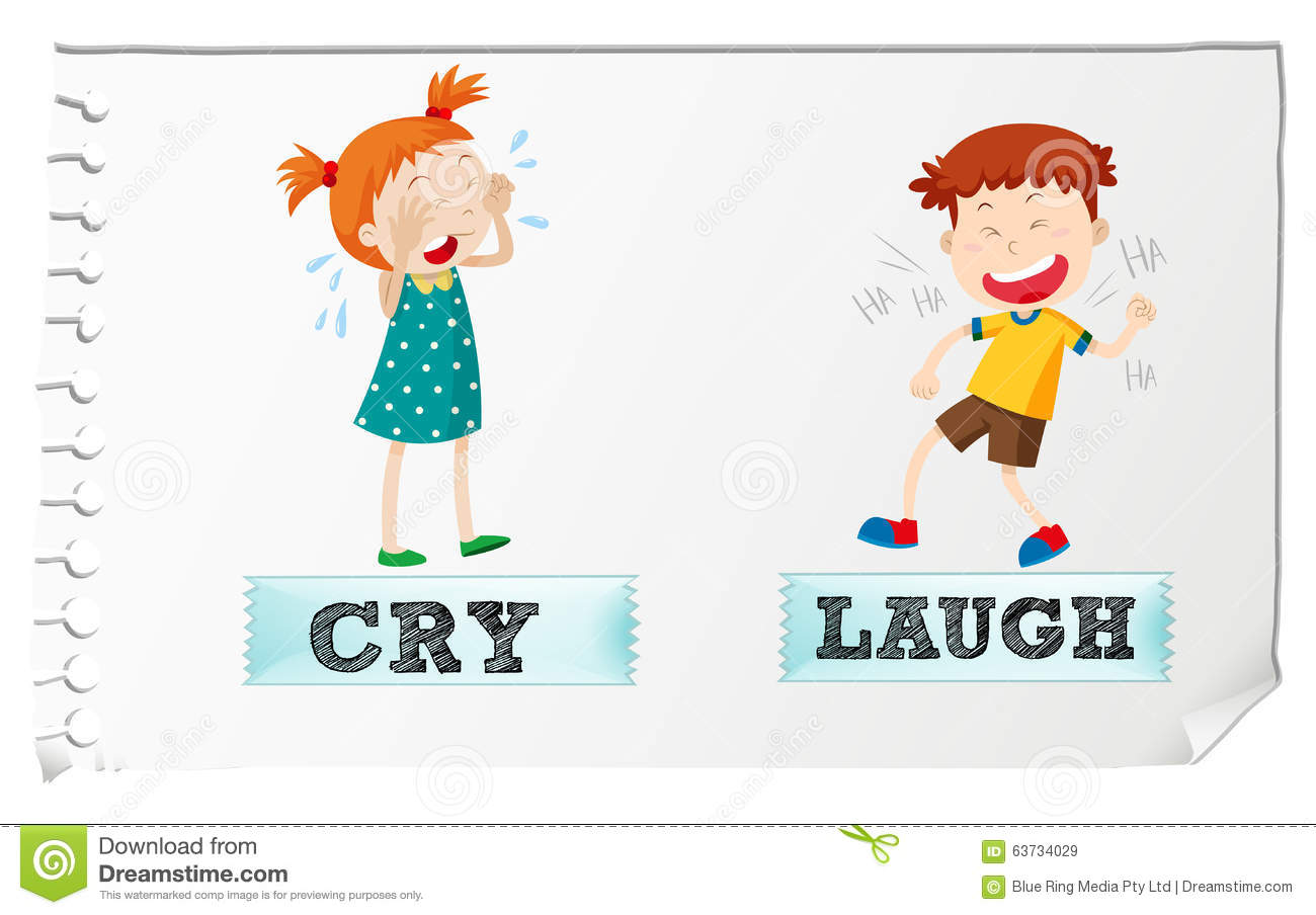Stock Illustration Opposite Adjectives Cry Laugh Illustration Image63734029 on Wet Dry Worksheet And Kindergarten
