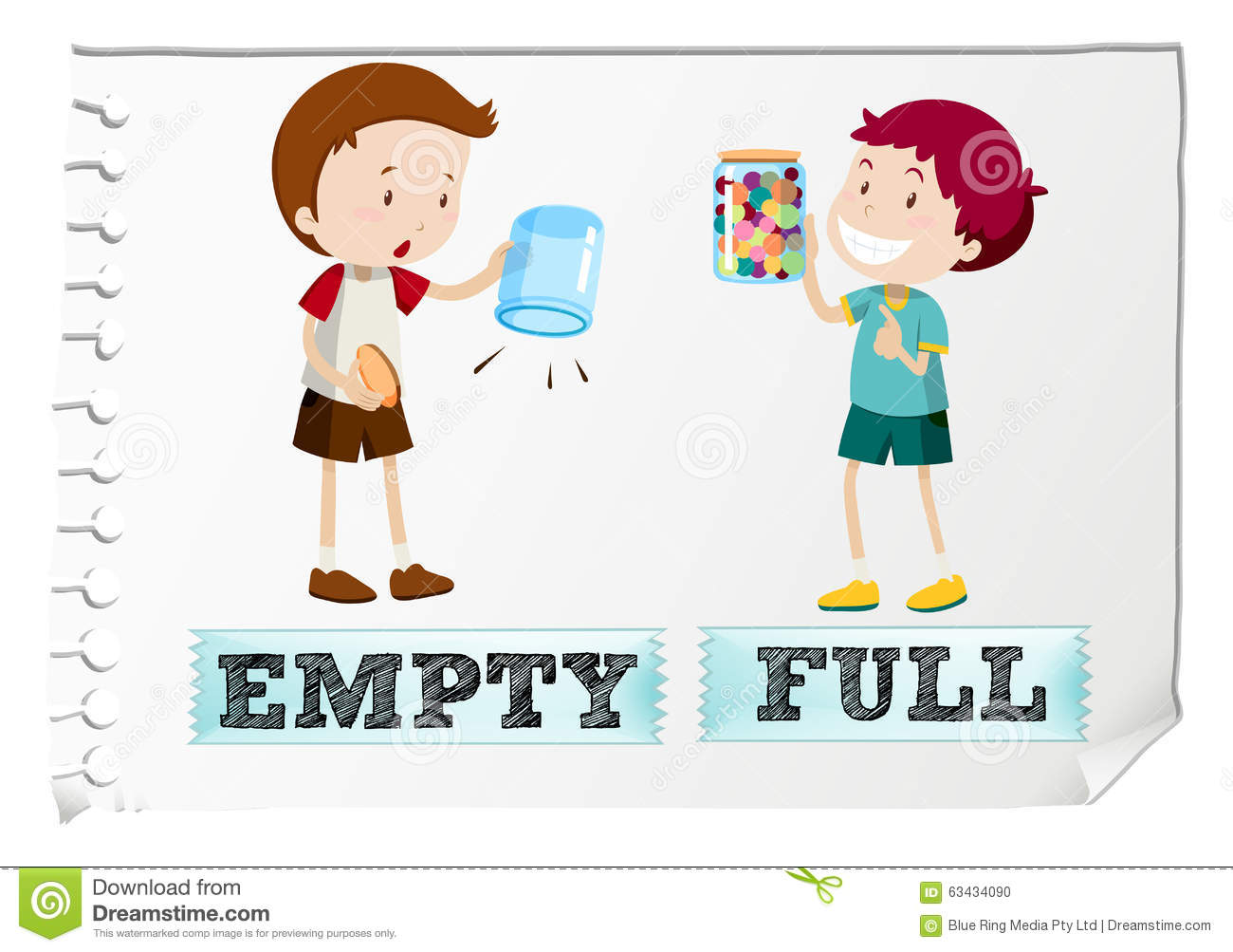 Opposite Adjectives With Empty And Full Stock Vector ...