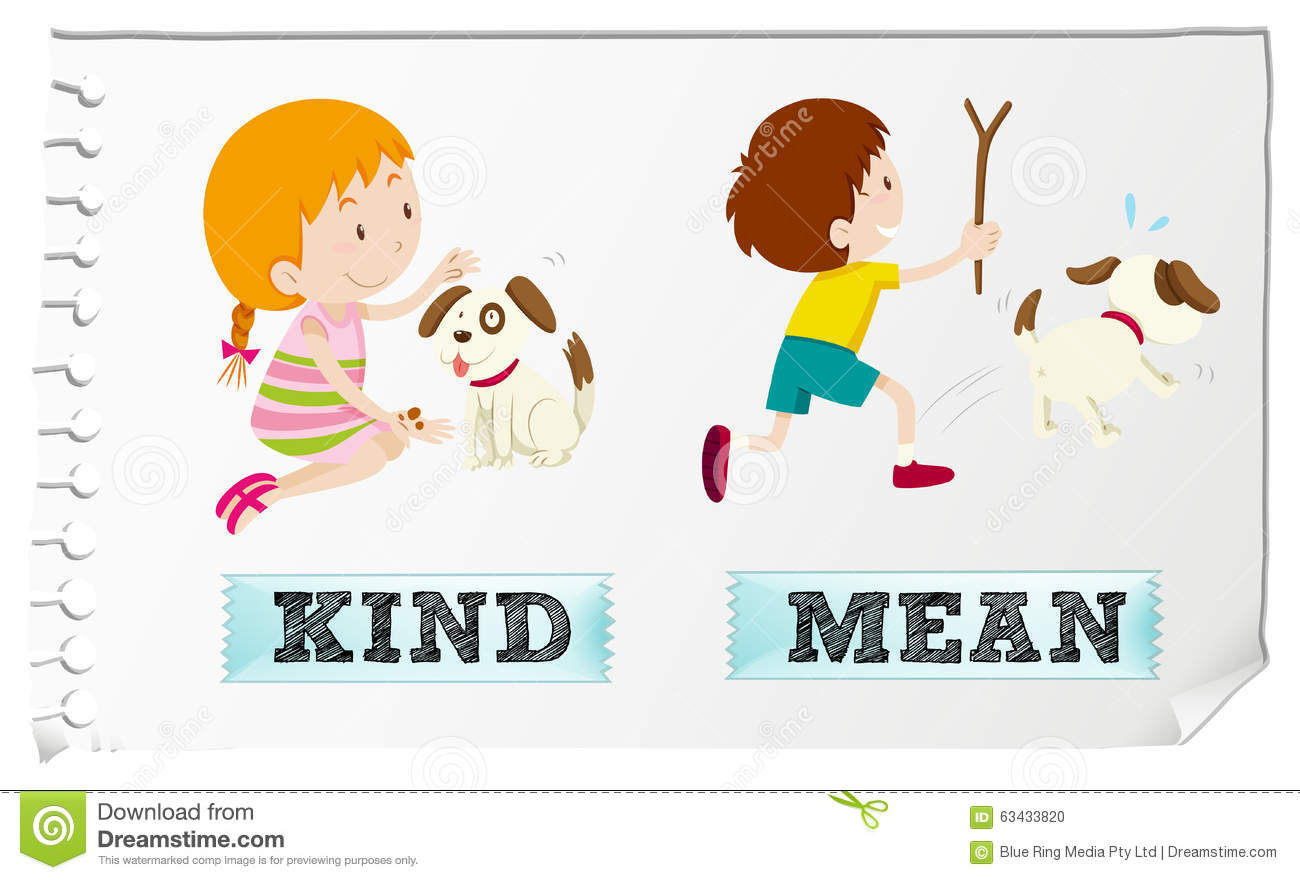 Opposite Adjectives Kind And Mean Stock Vector - Image: 63433820