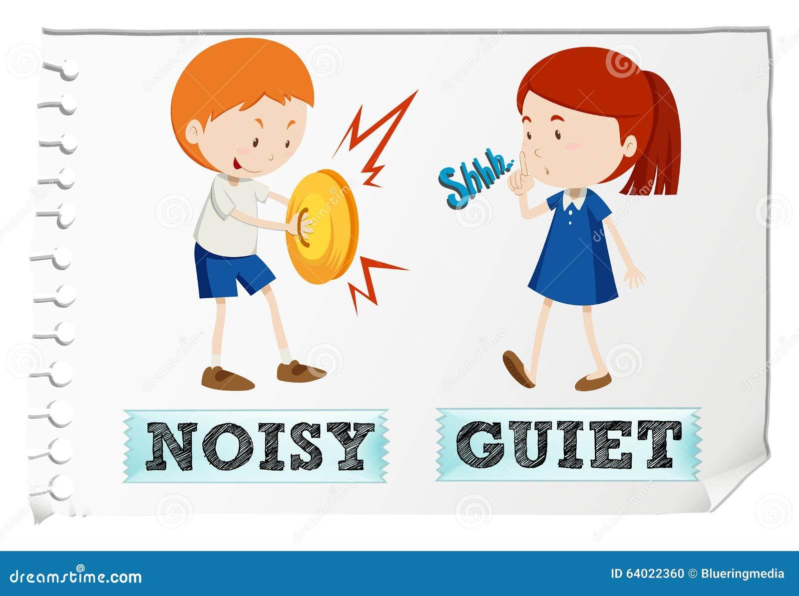 Stock Illustration Opposite Adjectives Noisy Quiet Illustration Image64022360 on Opposites Flashcards