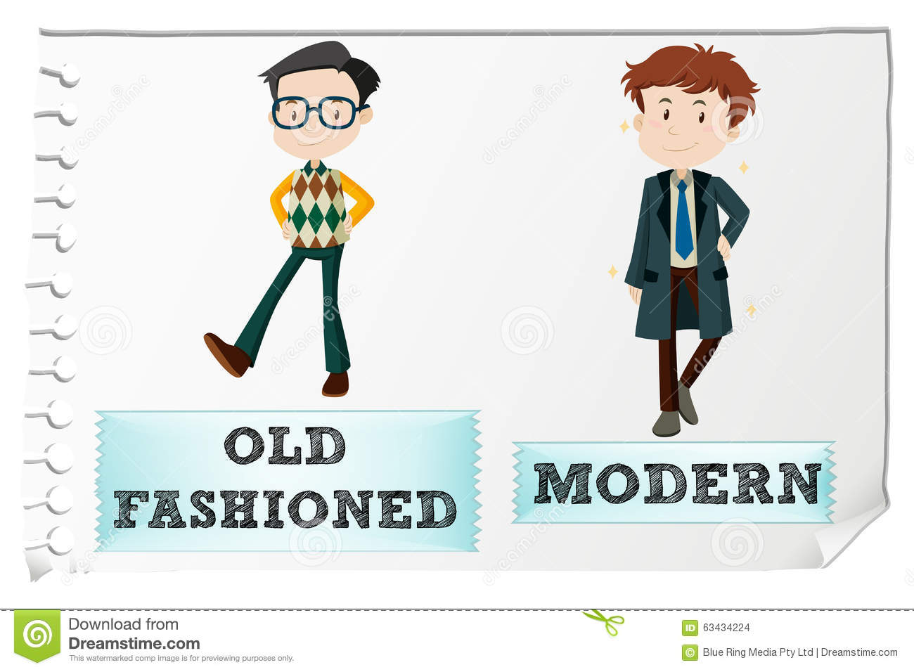 Modern Opposite Opposite Adjectives With Oldfashioned And Modern Stock Vector