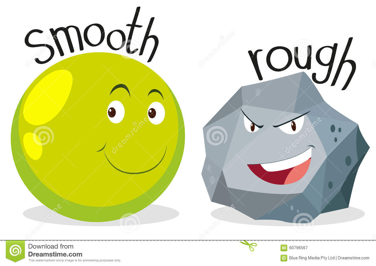 Opposite Adjectives Smooth And Rough Stock Vector - Image: 60796567