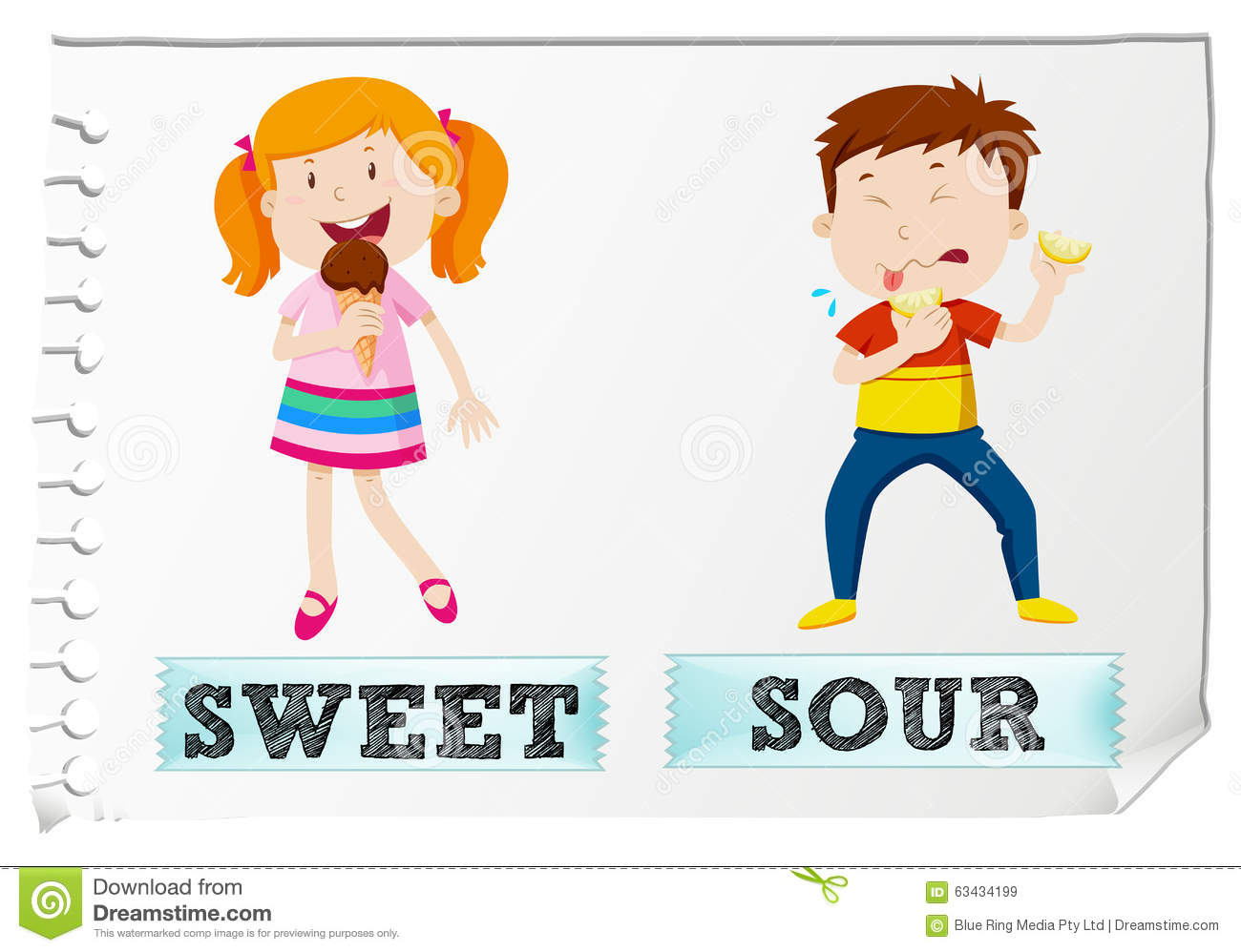 Opposite Adjectives Sweet And Sour Stock Vector - Image: 63434199