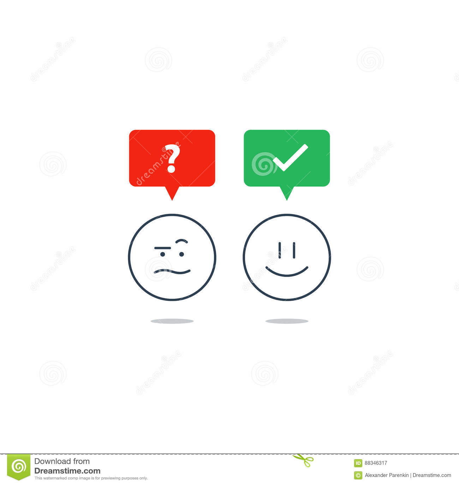 Opposite Emotions, Smile Emoji, Sad Icon, Customer Services