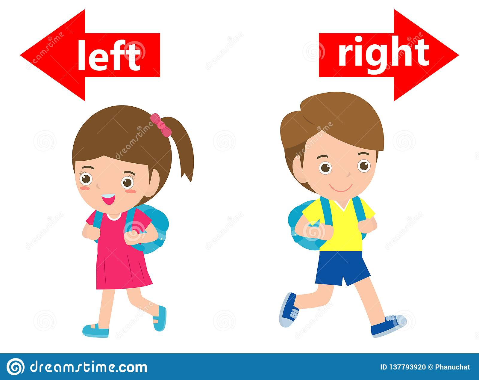 Opposite left and right, Girl on the left and boy on the right on white background,sign left and right illustration vector.