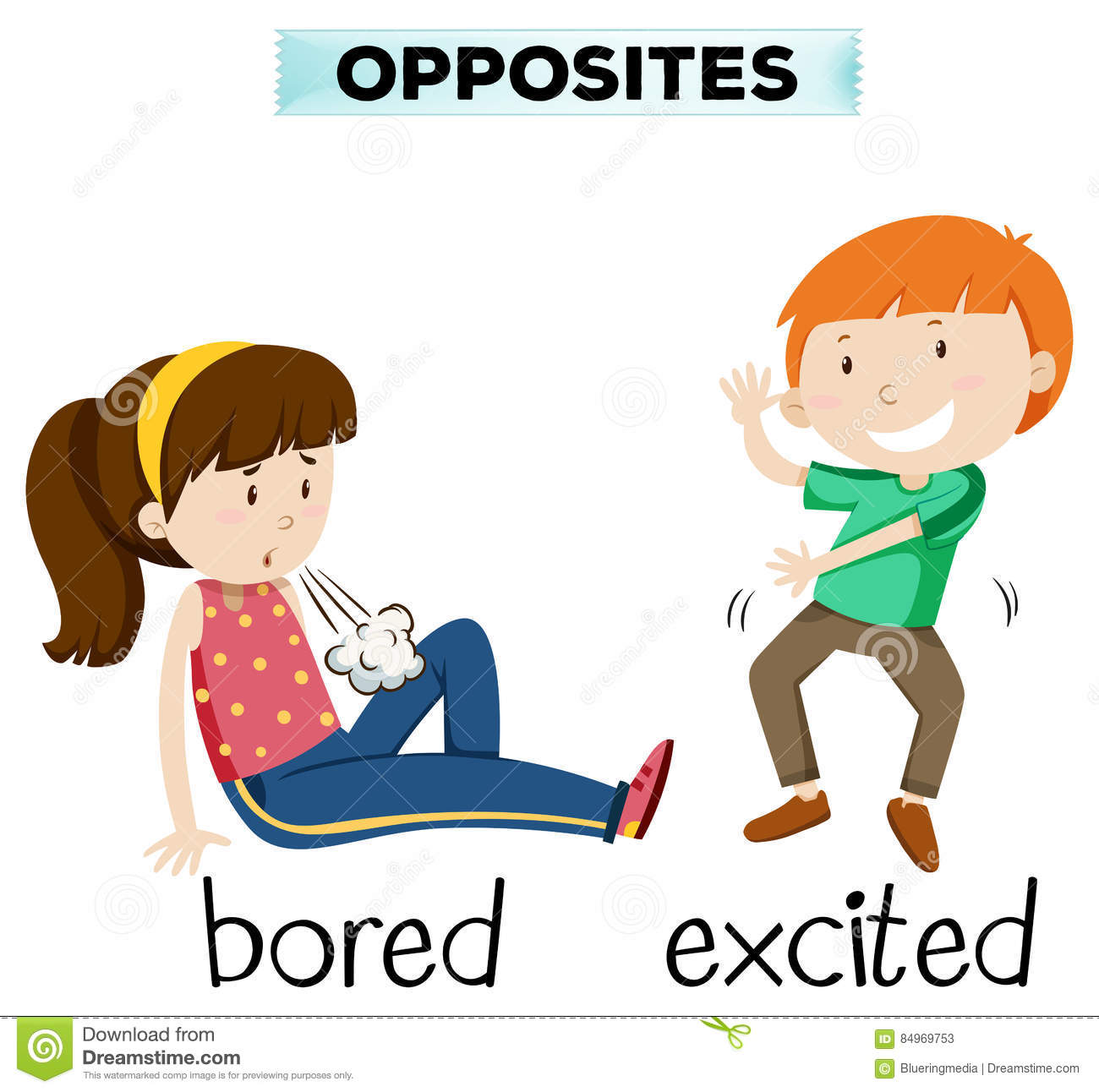 Opposite Word For Bored And Excited Stock Vector