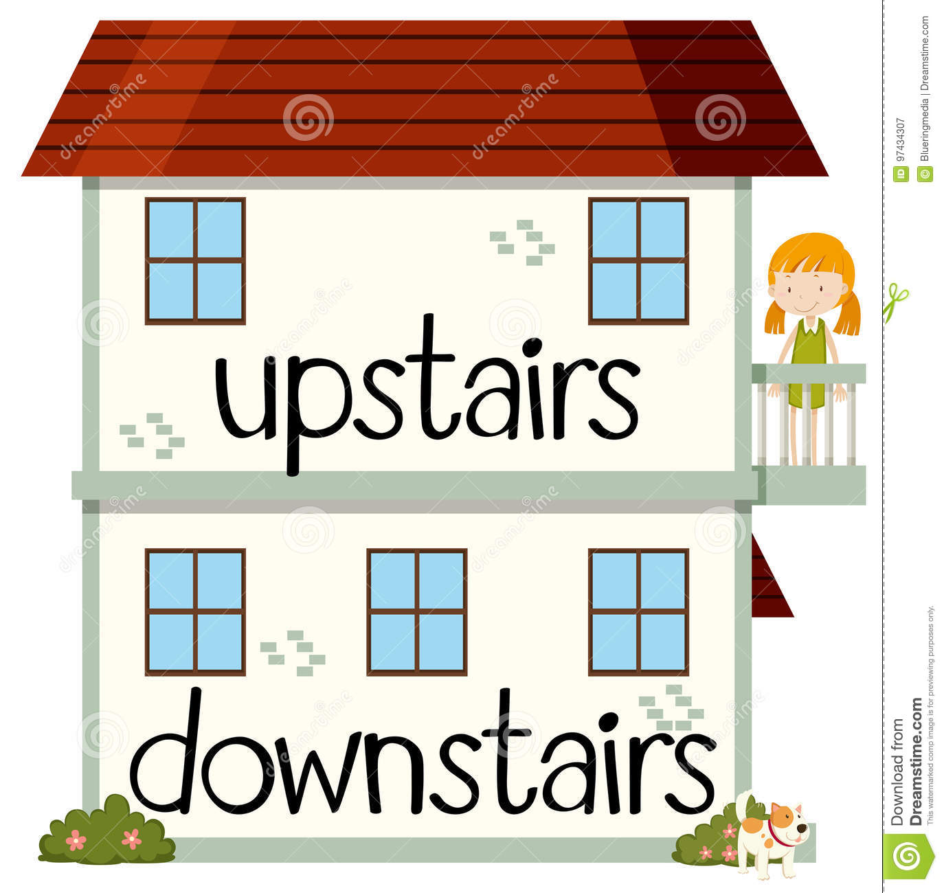 Opposite Wordcard For Upstairs And Downstairs Stock Vector ...