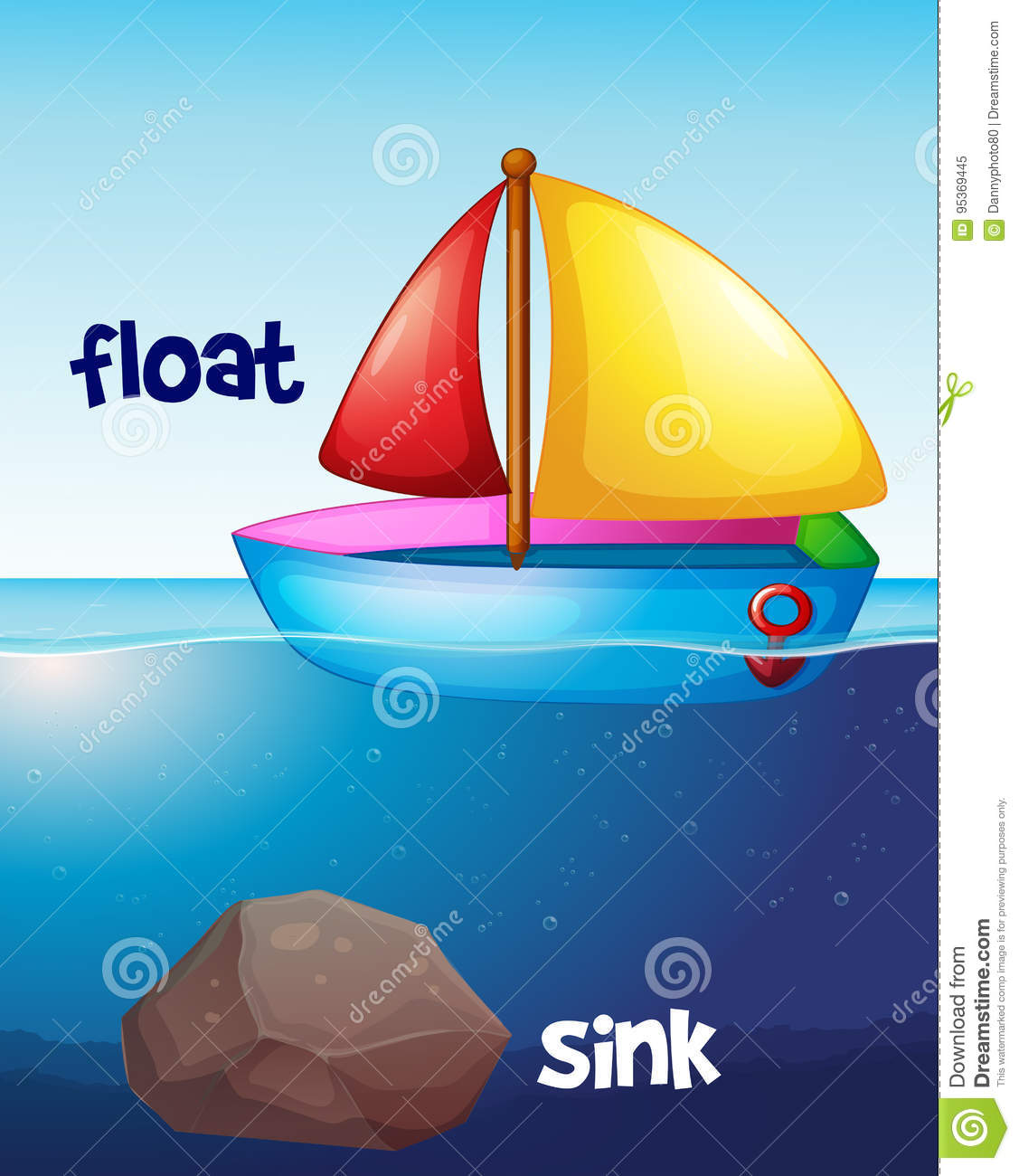 Opposite Words For Float And Sink Stock Vector - Illustration of ship, vacation: 95369445