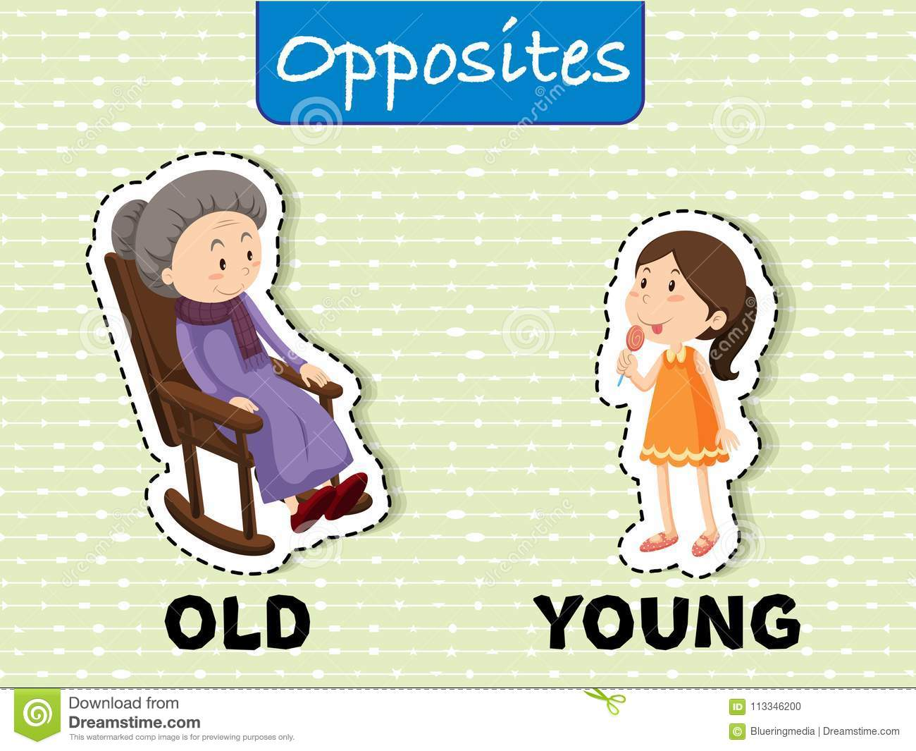 Opposite Words For Old And Young Stock Illustration