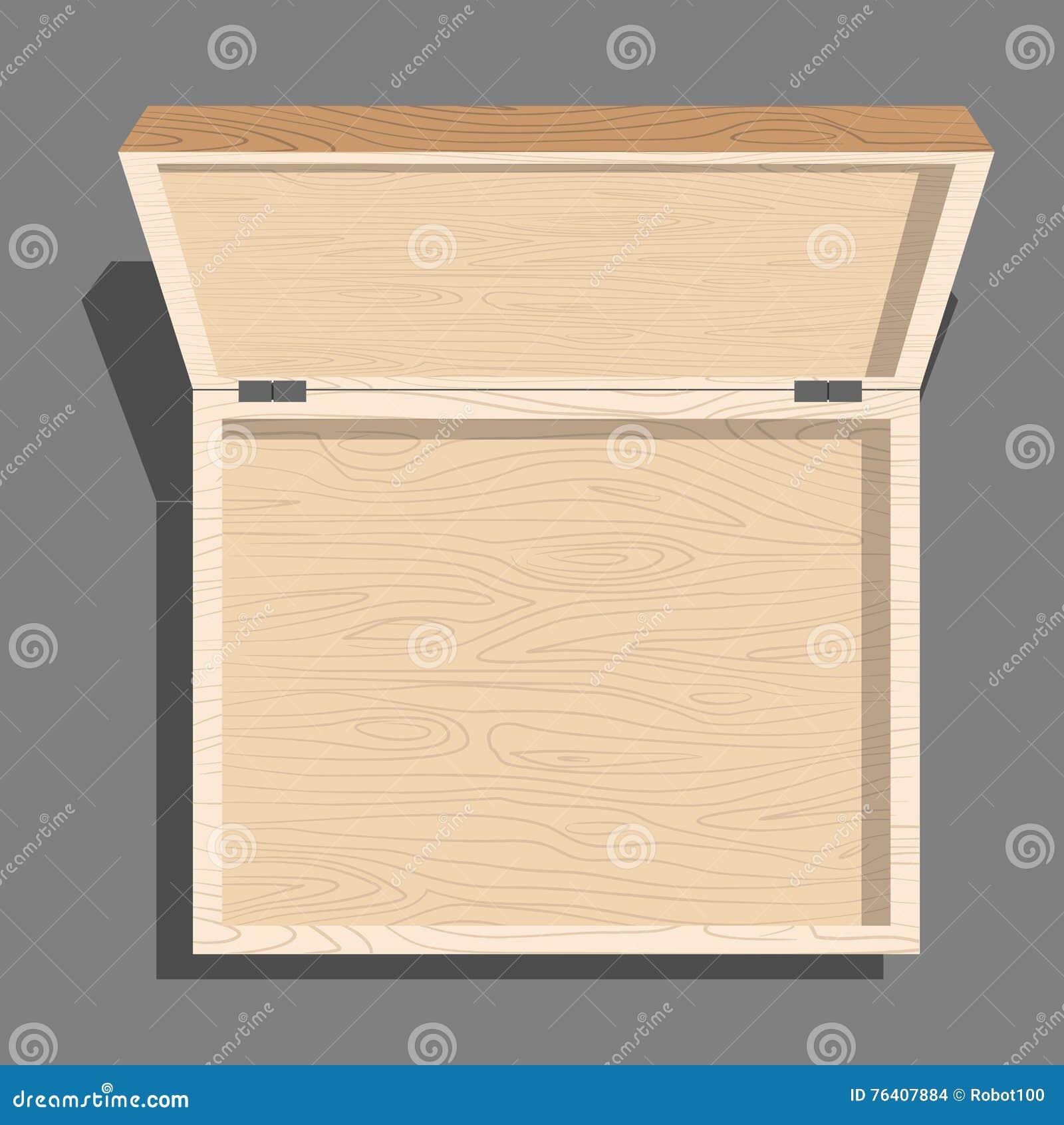 Opróżnia otwartego drewnianego pudełka odgórnego widok Skrzynka od desek Unblo