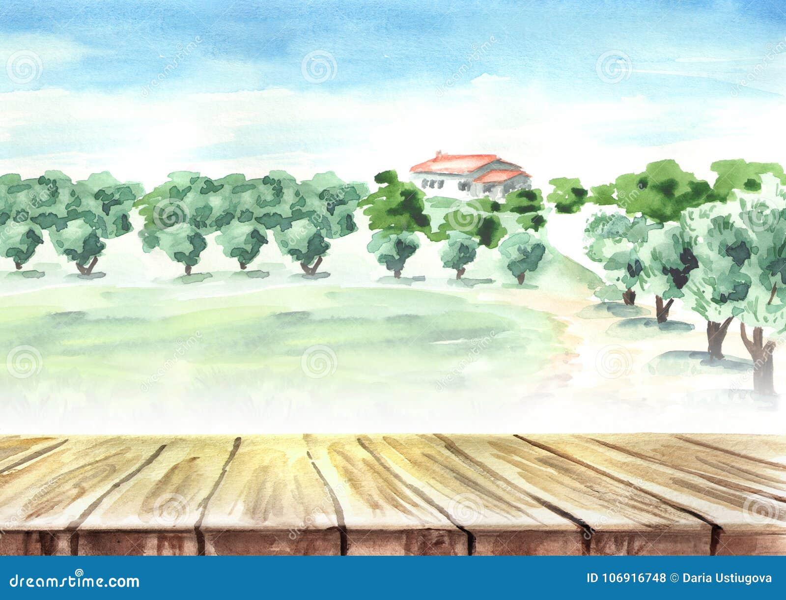 Opróżnia stół w krajobrazie z oliwnym gajem Akwareli ręka