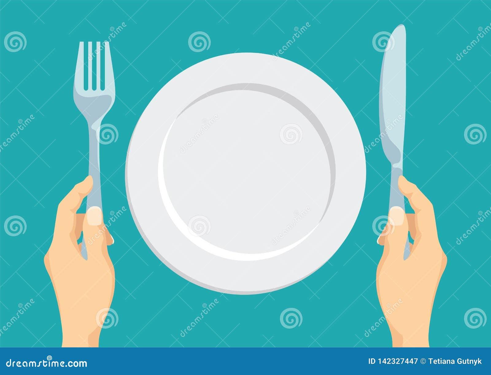Opróżnij półkowego white Rozwidlenie i nóż w ręce