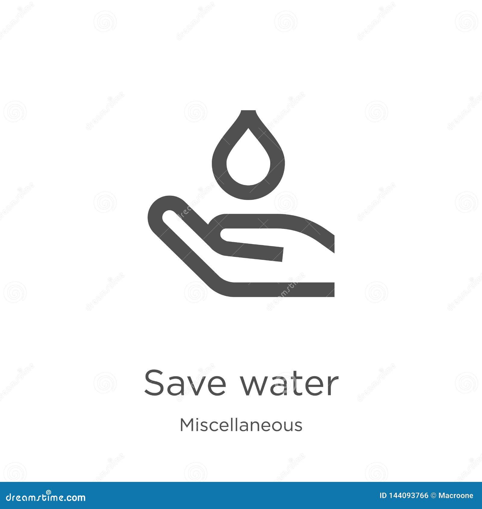 Oprócz wodnego ikona wektoru od różnej kolekcji Cienka linia opr?cz wodnej kontur ikony wektoru ilustracji Kontur, cienieje lini?