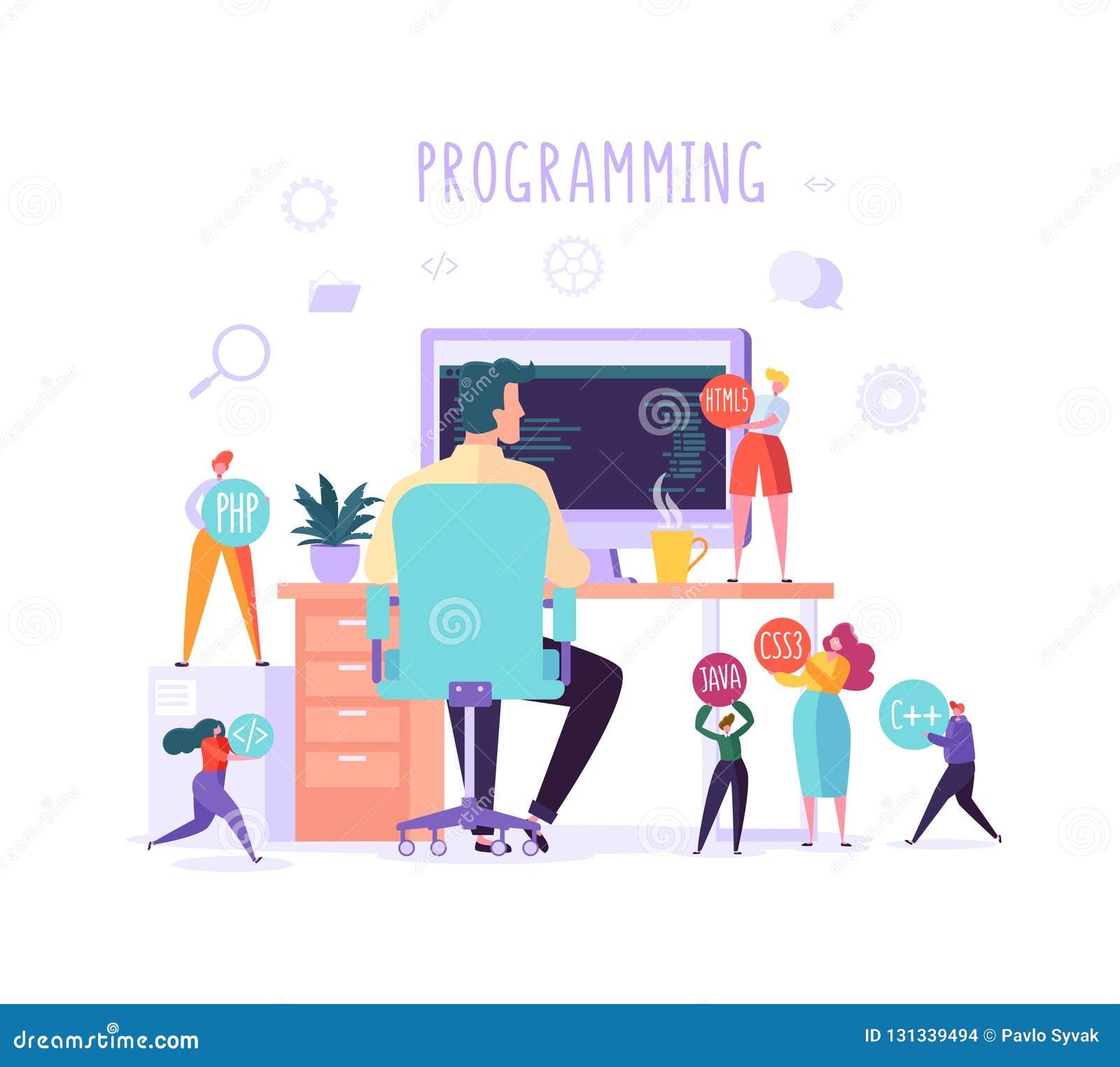 Oprogramowania i strony internetowej programowania pojęcie Programisty charakter Pracuje na komputerze z kodem na ekranie freelan