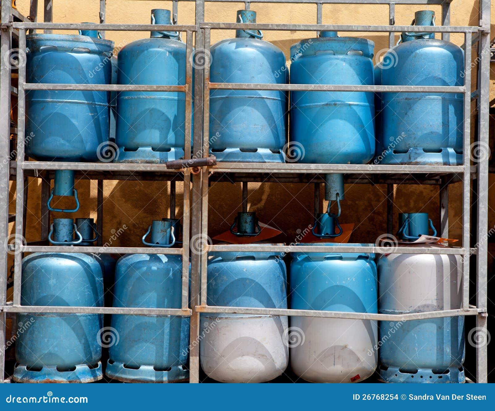 Opslag met flessen gas
