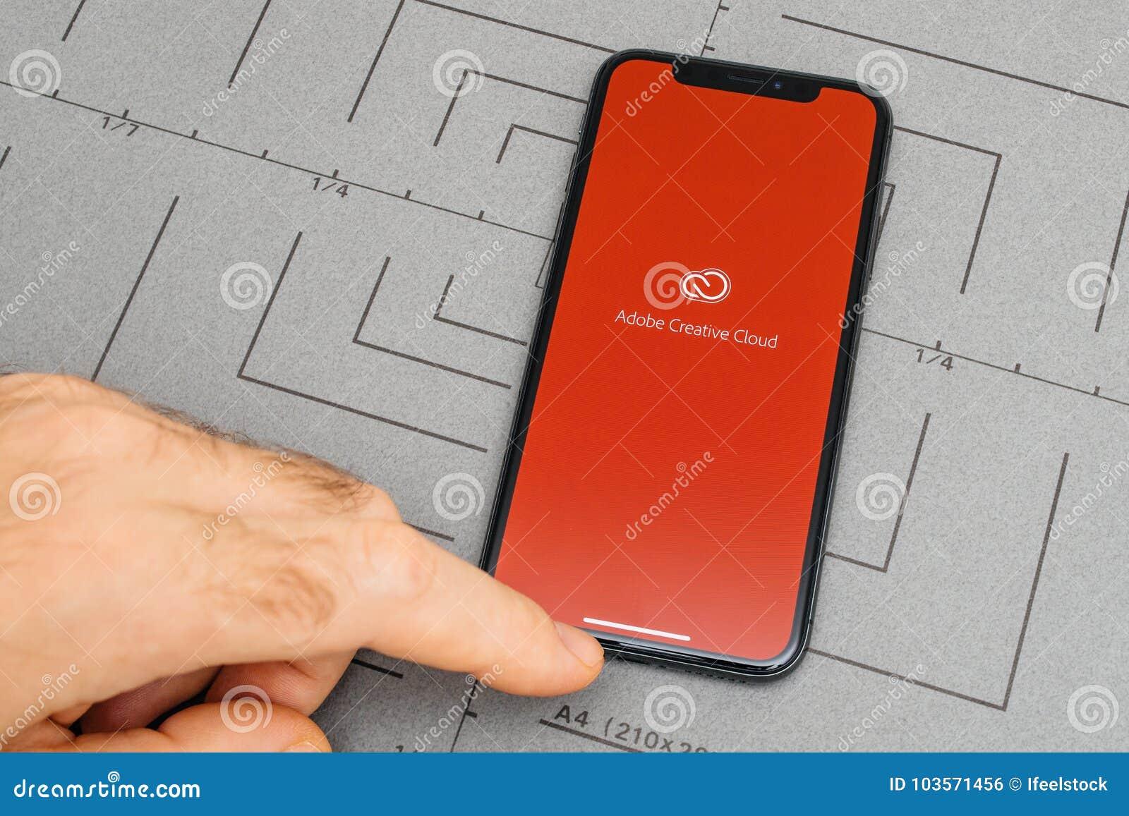 Opstelling op iPhone X 10 app de adobe creatief cl van de toepassingssoftware
