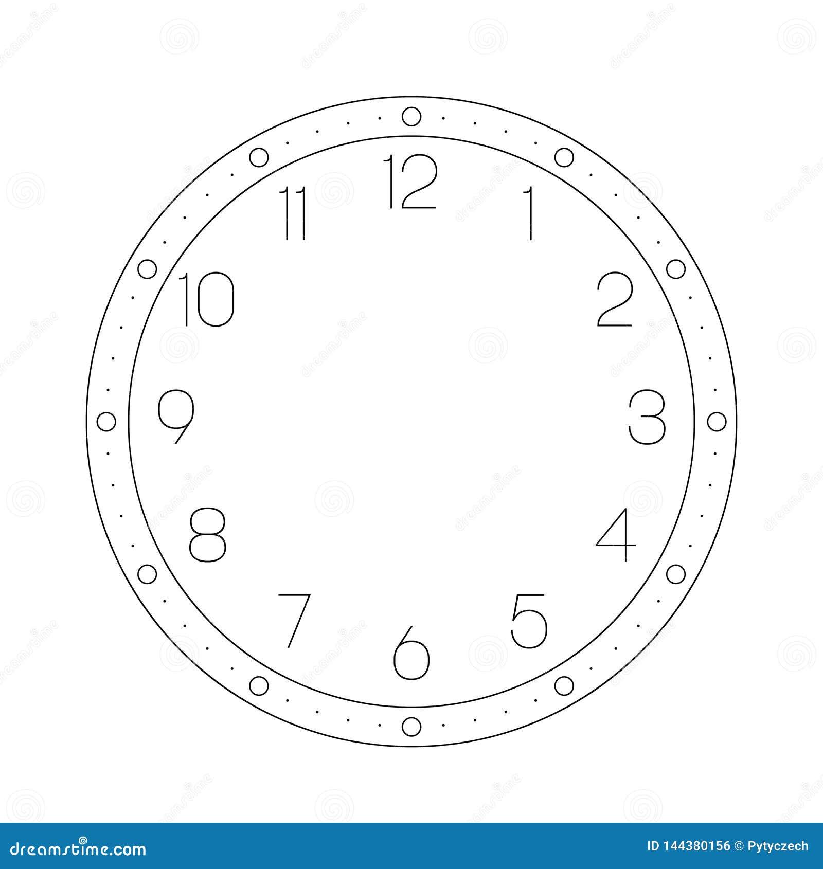 Opstelling uw tijd Uurwijzerplaat met aantallen De punten merken notulen en uren Eenvoudige vlakke vectorillustratie