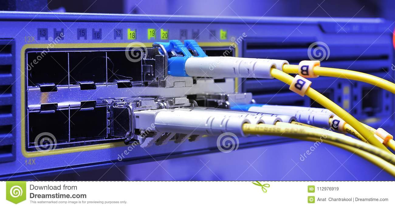 Optic fiber cables connected to data center