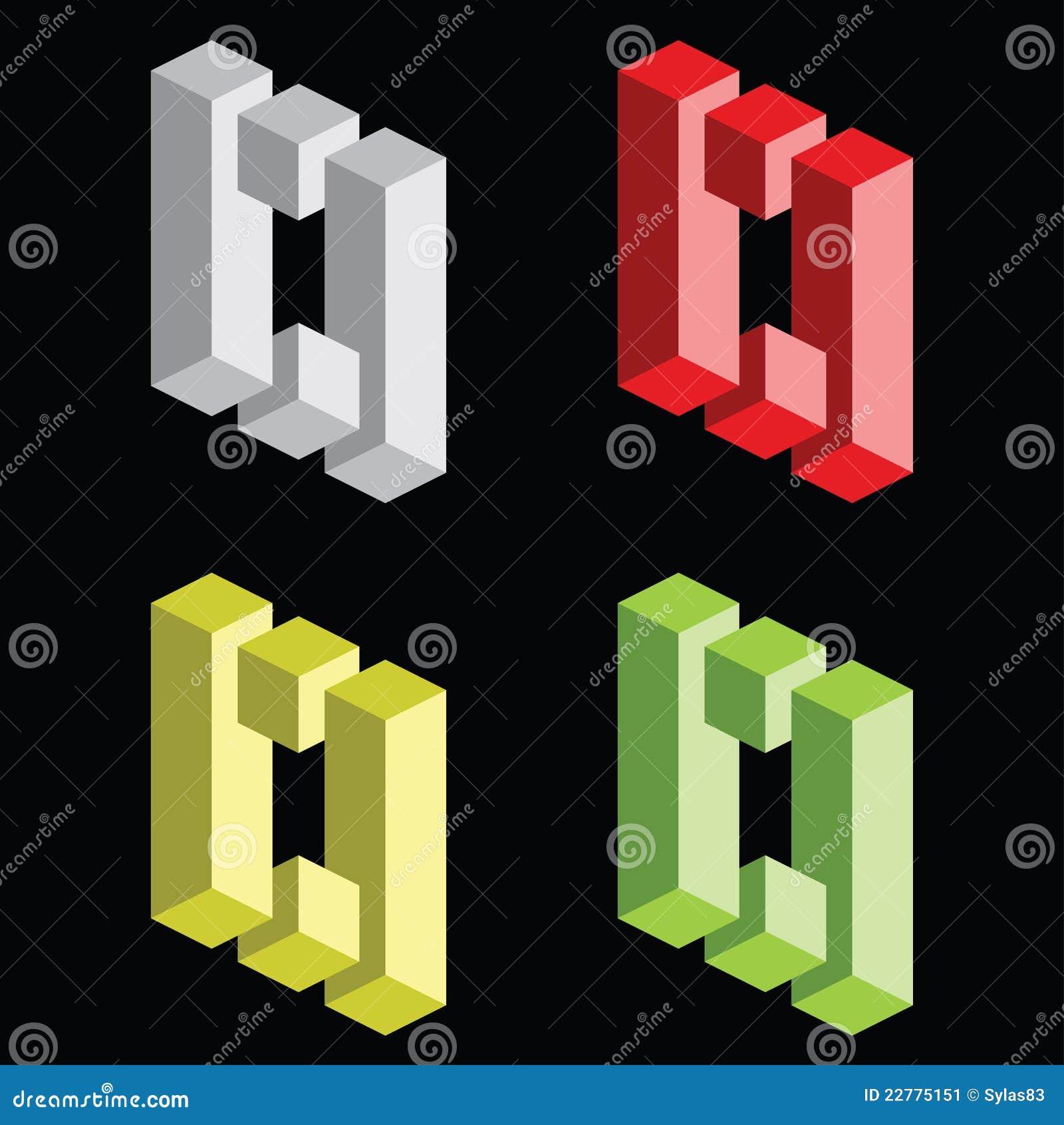 Optical illusion, colorful blocks