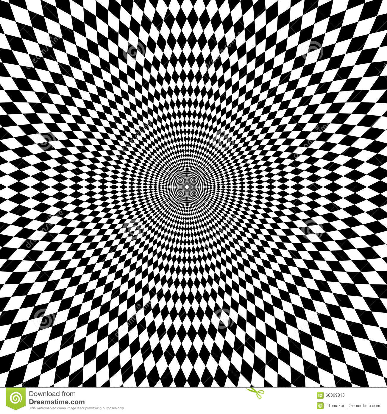 Optical illusion zoom black and white background