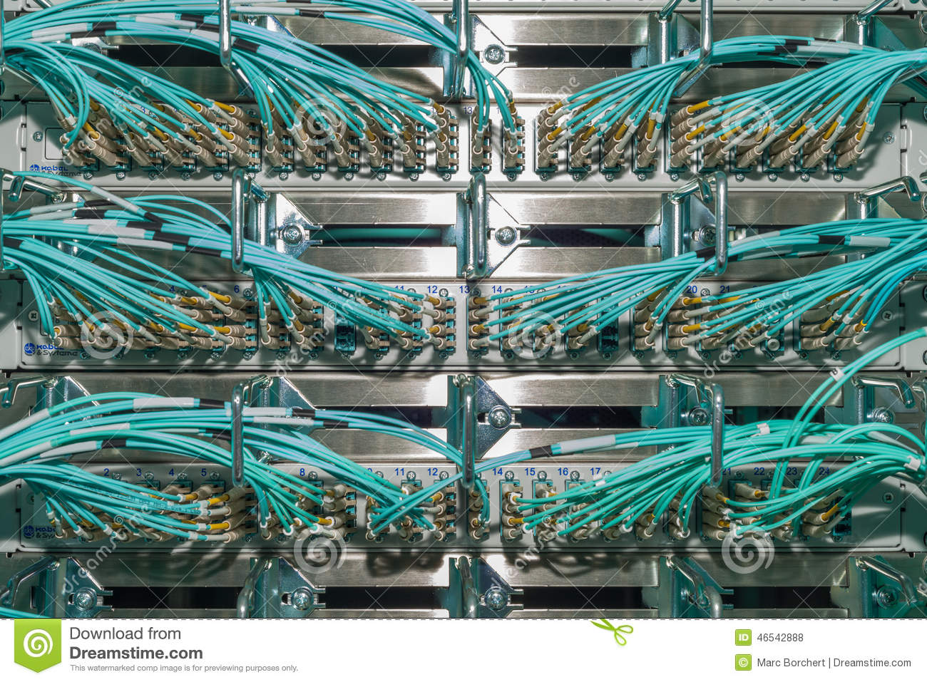Optical Patch Panel In A Data Center Für Cloud Services Stock Photo ...