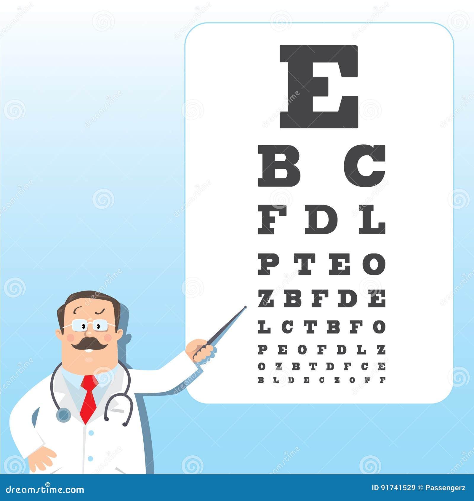 Optician Doctor With Snellen Eye Chart Doctor Vector – Eye Chart Template