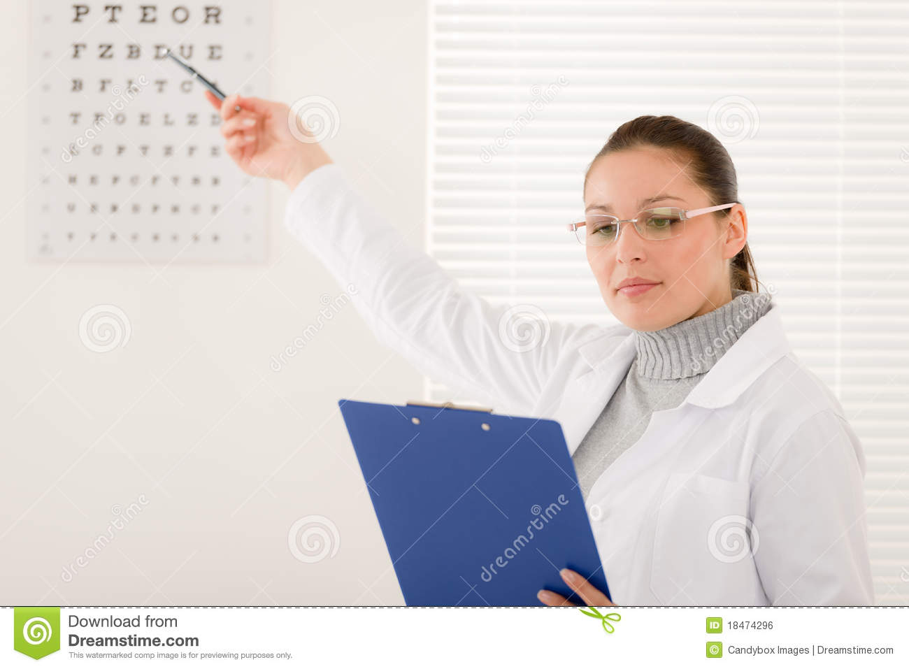Optician Doctor Woman With Glasses And Eye Chart Stock Photo - Image