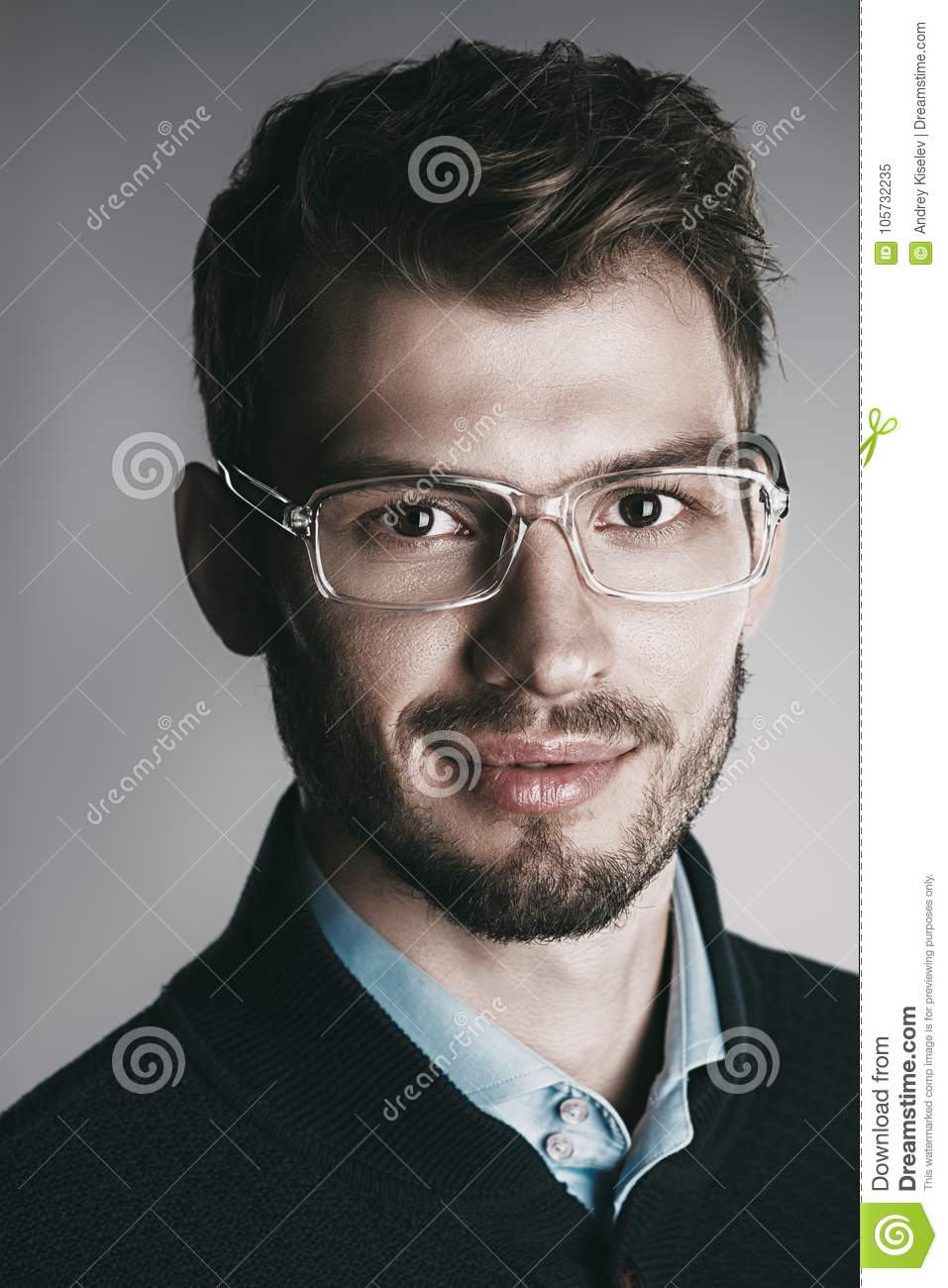 c3ab2724a01d Elegant man in glasses. Optics style for men. Handsome businessman in  spectacles. Male beauty, fashion.