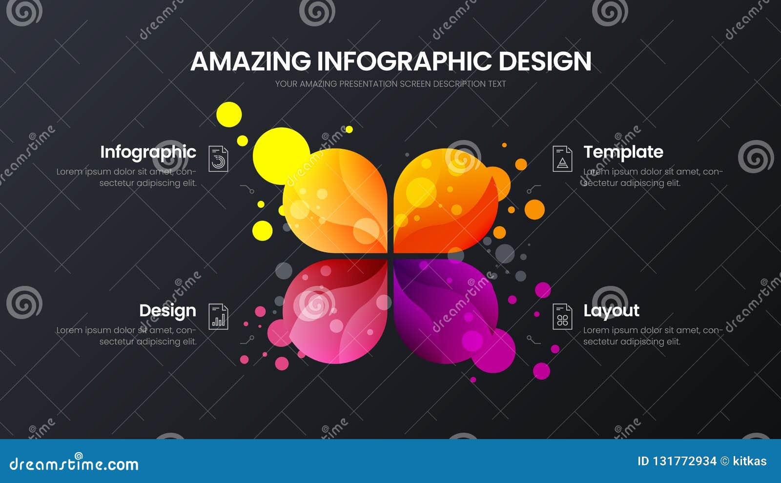 4 optie marketing malplaatje van de analytics het vectorillustratie De lay-out van het bedrijfsgegevensontwerp