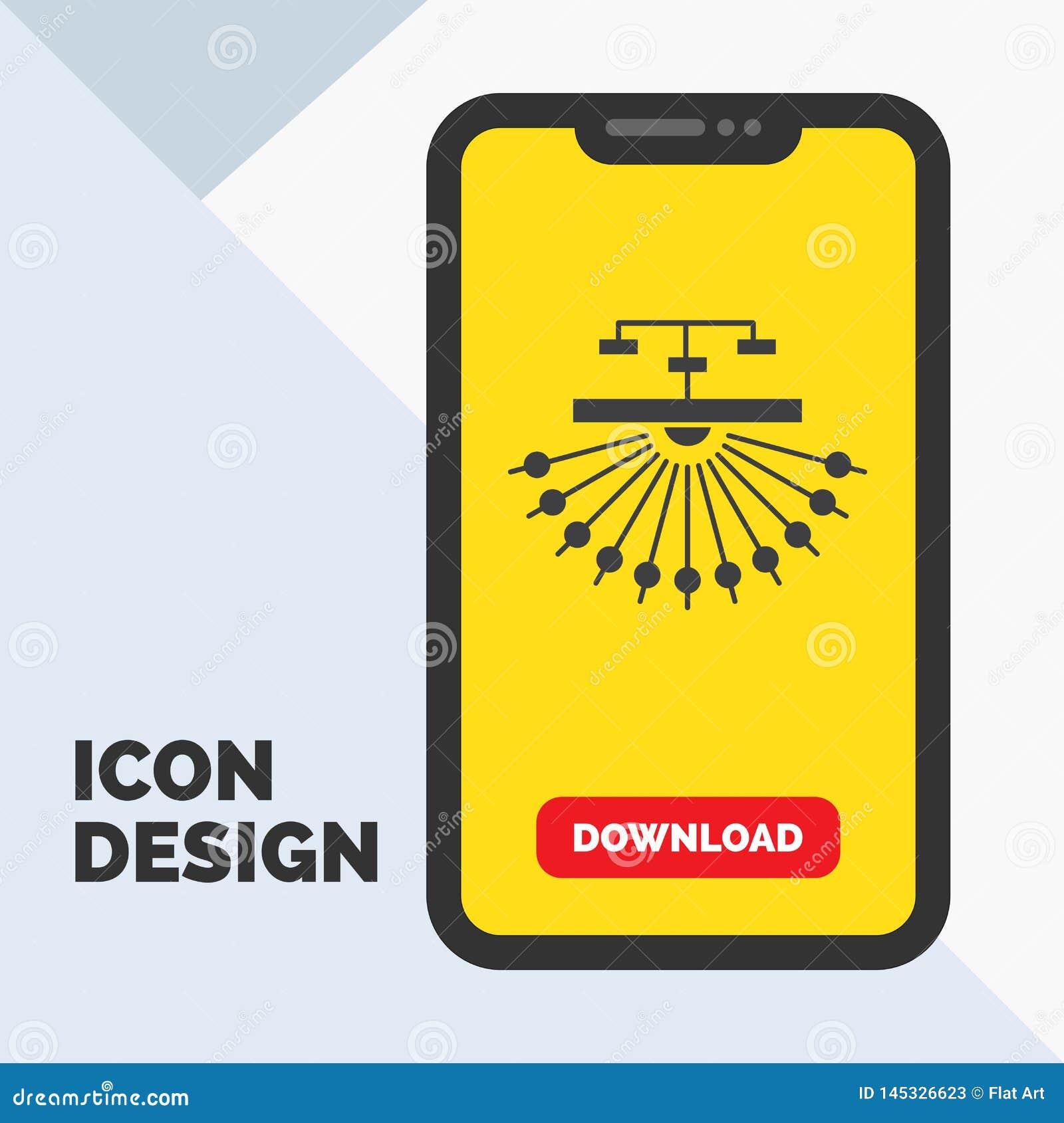 Optimalisering, plaats, plaats, structuur, het Pictogram van Webglyph in Mobiel voor Downloadpagina Gele achtergrond