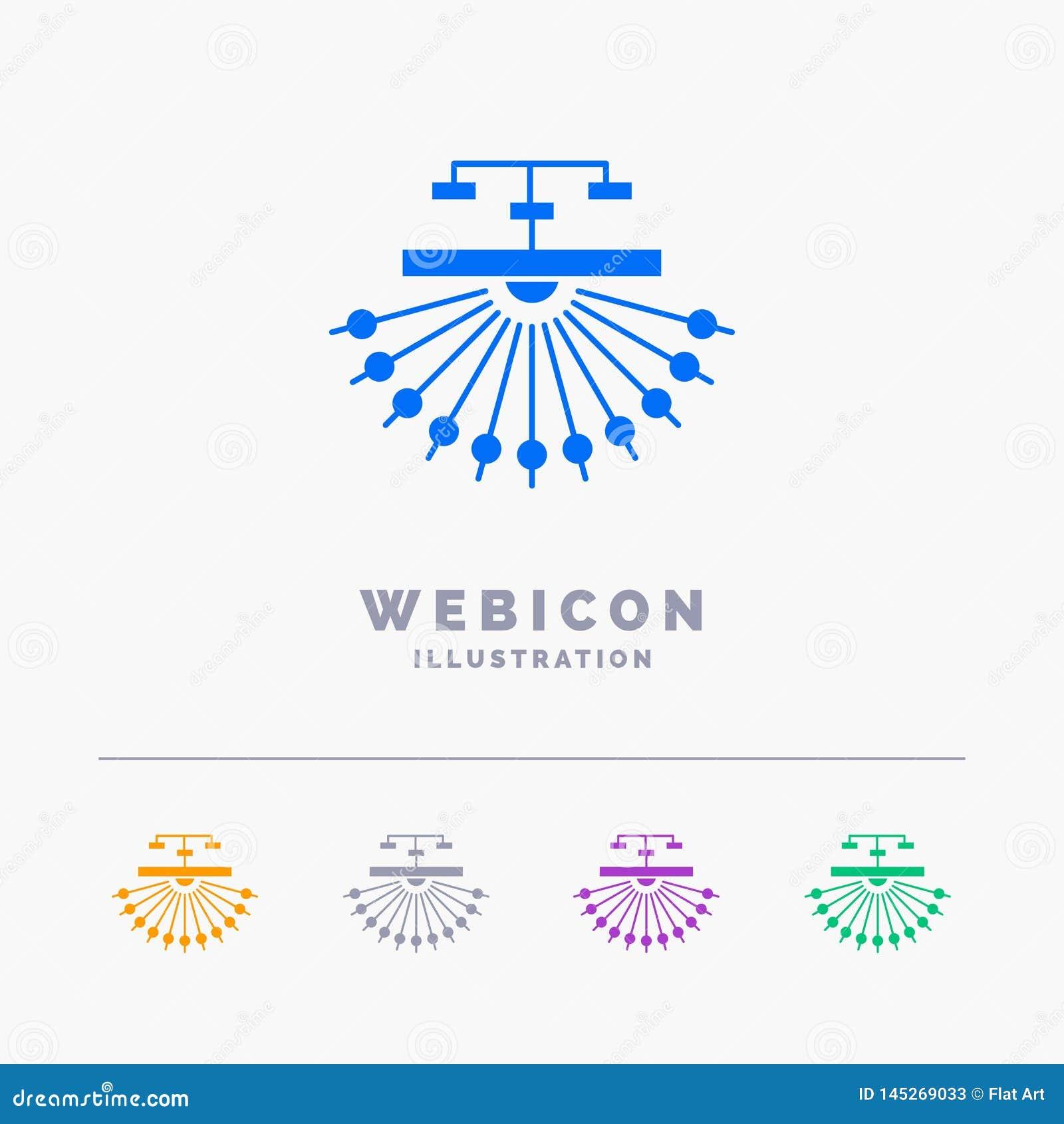 Optimalisering, plaats, plaats, structuur, Web 5 het Malplaatje van het het Webpictogram van Kleurenglyph op wit wordt geïsoleerd
