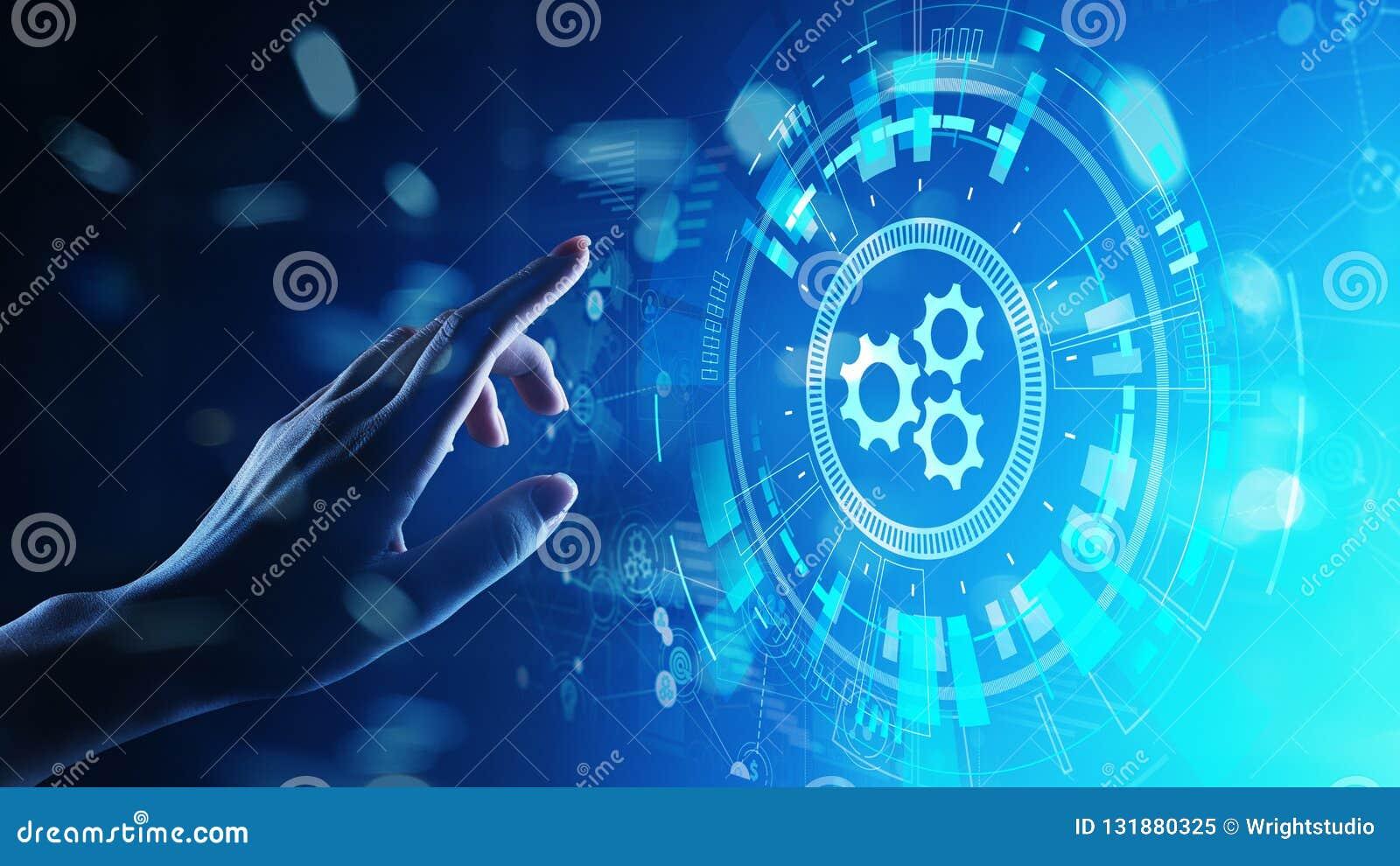 Optimalisering van het automatiserings, de Bedrijfs en industrieel proceswerkschema, software-ontwikkelingconcept op het virtuele