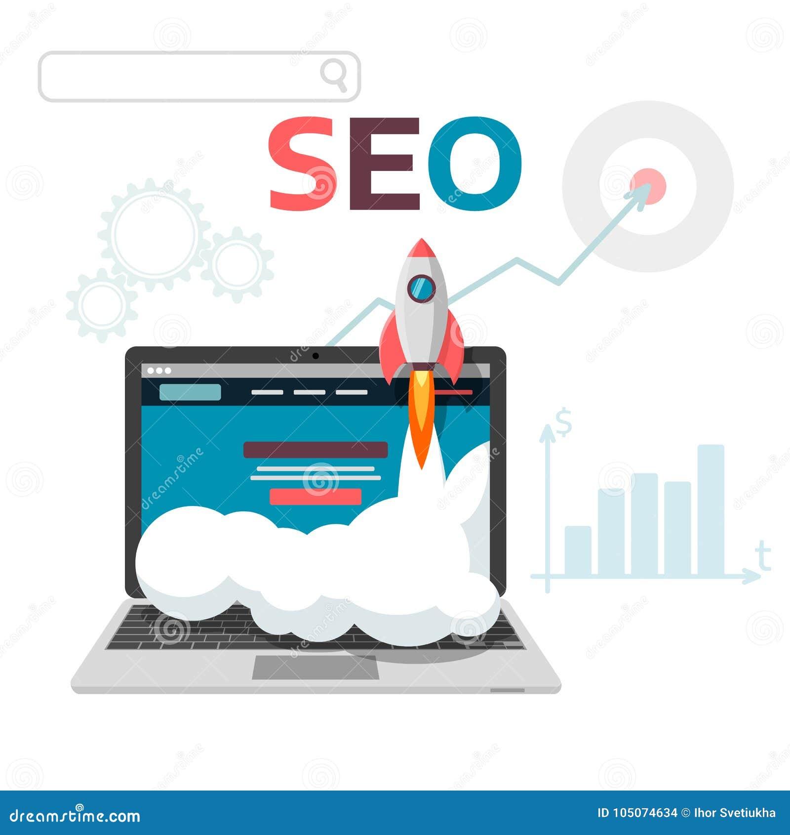 Optimisation graphique du concept SEO Conception plate d analytics de Web d illustration de vecteur Site et promotion de page d a