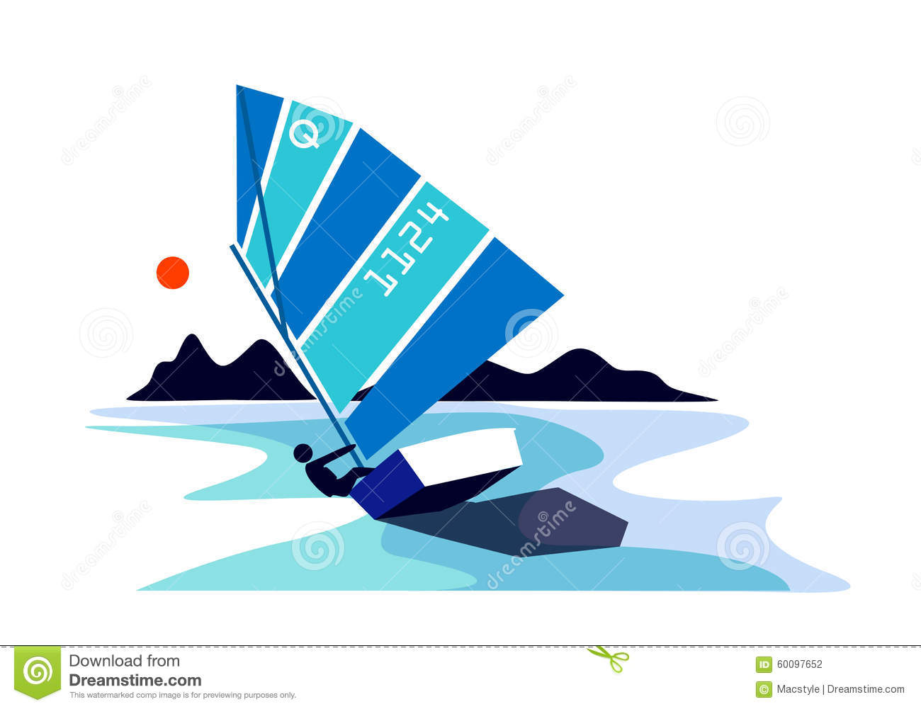 Optimist Sailing Boat Stock Vector - Image: 60097652