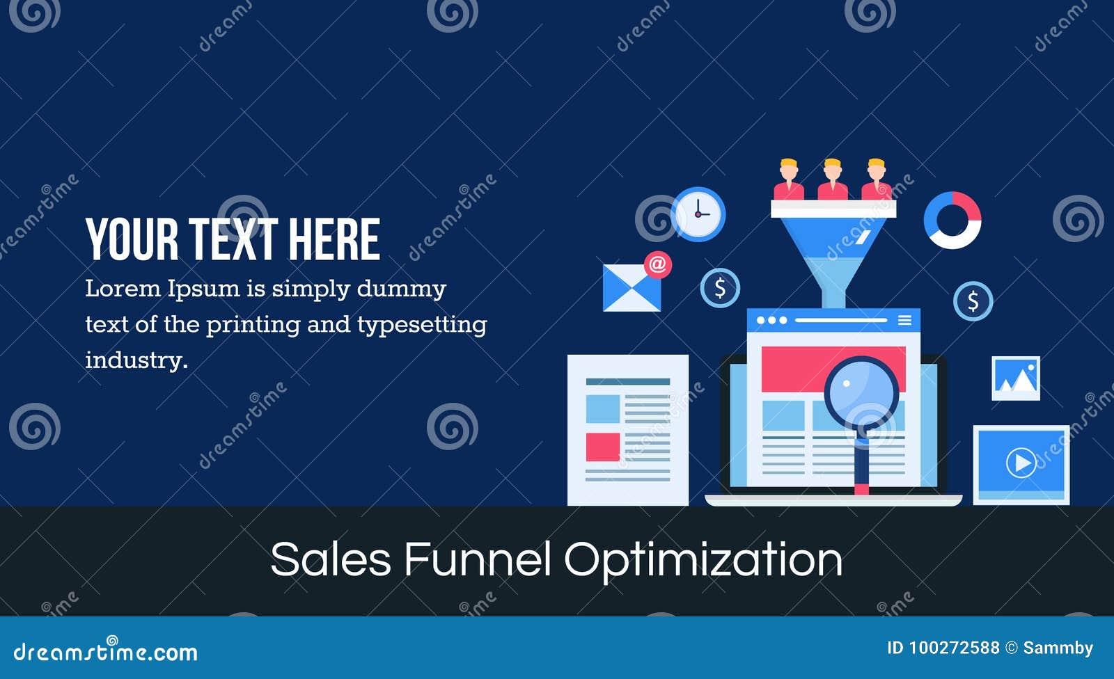 Optimización del embudo de las ventas - bandera plana del web del diseño