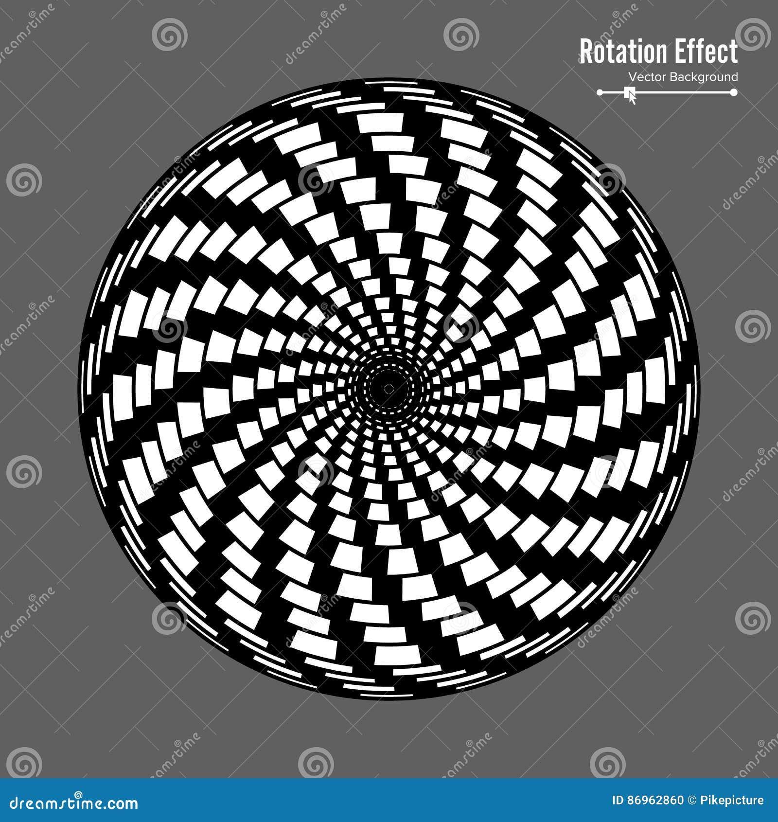 Optische illusie Vector 3d Art. Omwentelings Dynamisch Effect Rotatiecyclus De Ringen van de wervelingspool Geometrische Magische