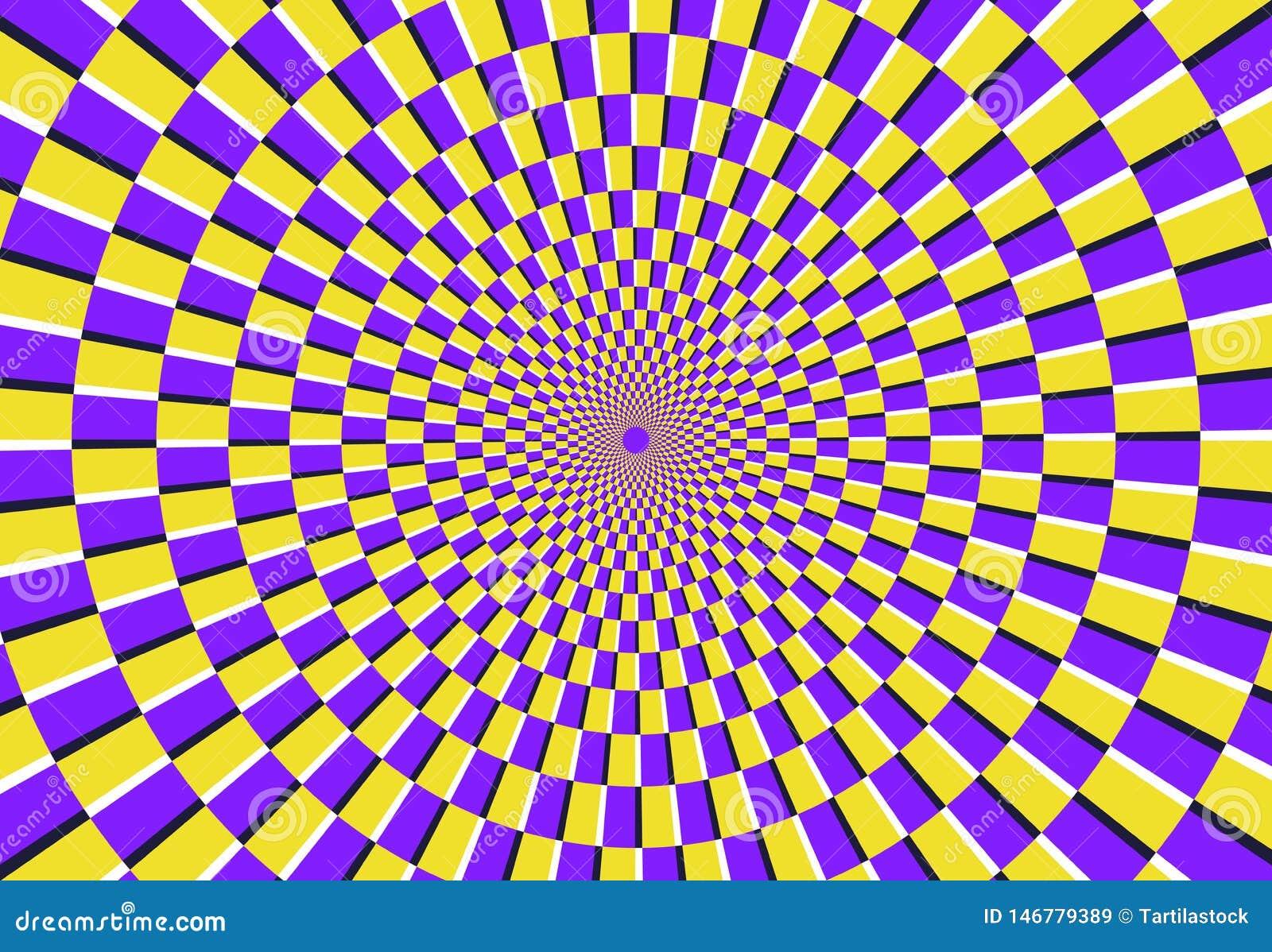 Optische spiraalvormige illusie Magisch psychedelisch patroon, wervelingsillusies en hypnotic abstracte vectorillustratie als ach
