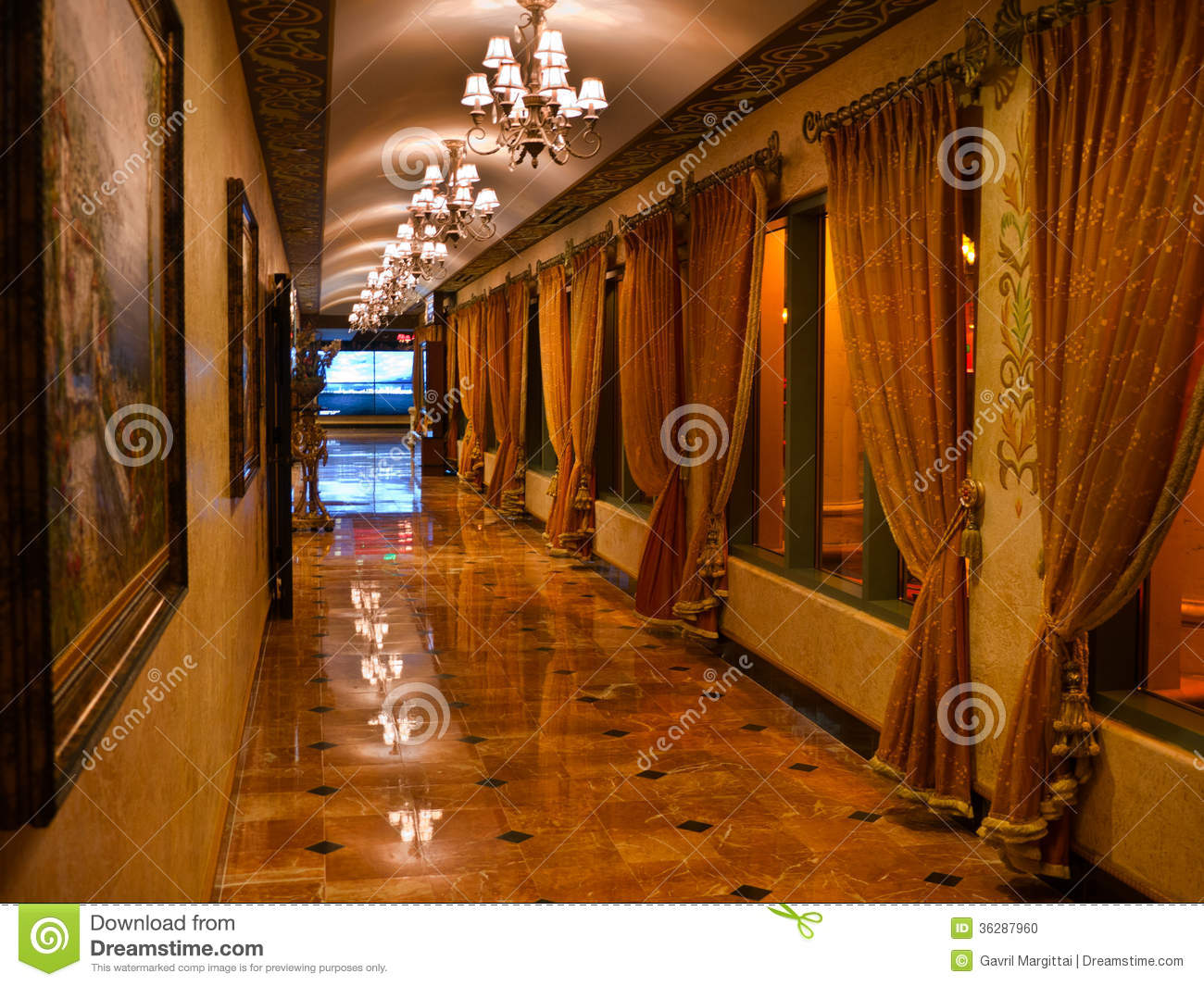 Opulent Corridor With Marble Floor And Curtains Stock