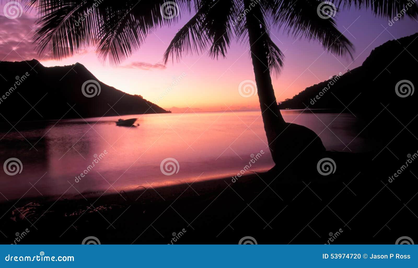 Opunohu-Bucht-Sonnenuntergang Moorea Tahiti