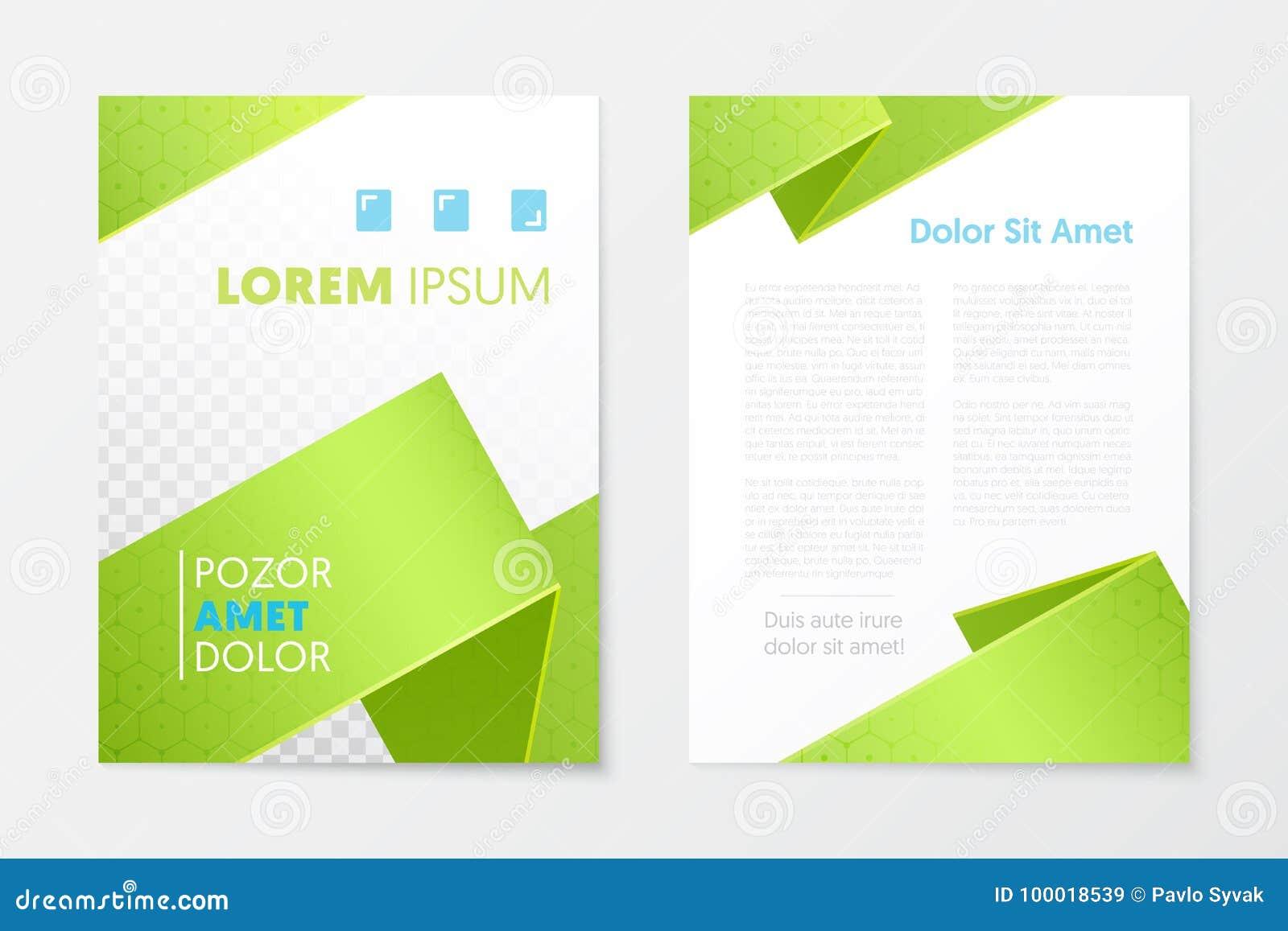 Opuscolo verde di affari del rapporto annuale, libretto, modello dell aletta di filatoio della copertura dell opuscolo Disegno co