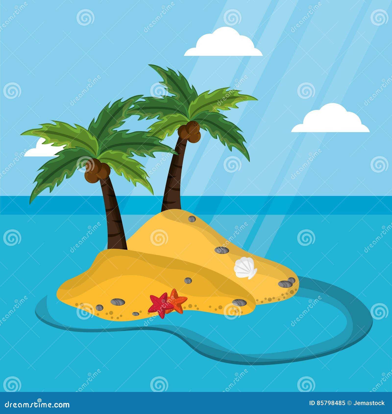 Opustoszała wyspa z drzewko palmowe rozgwiazdy mussel kokosowym światłem słonecznym