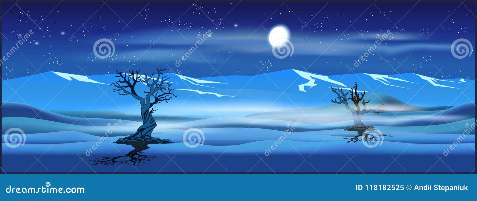 Opustoszały krajobraz przy nocą
