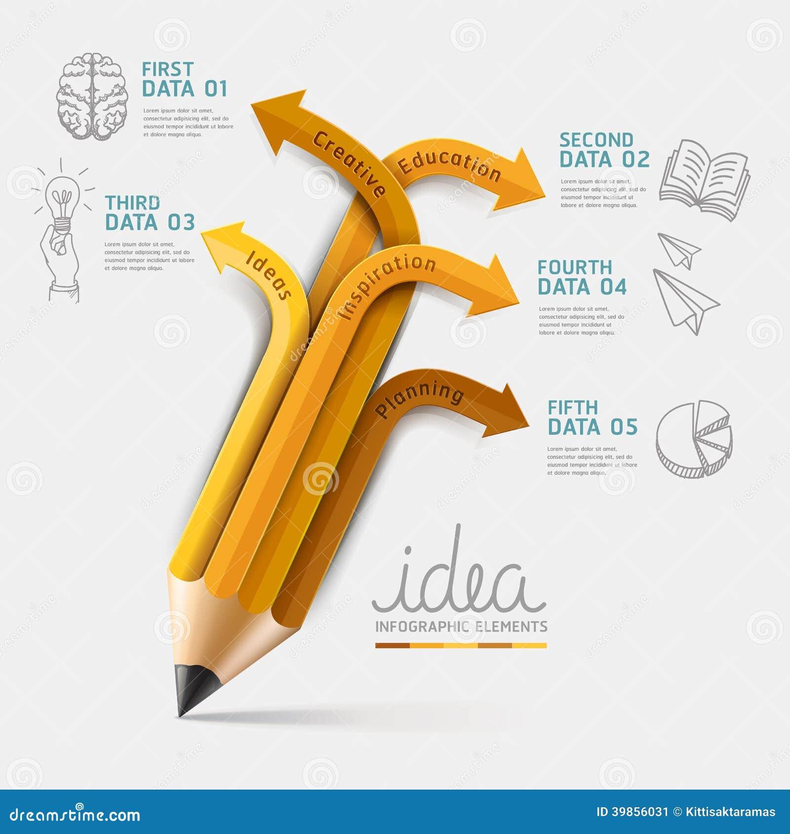 Opzione di punto di Infographics della matita di istruzione.